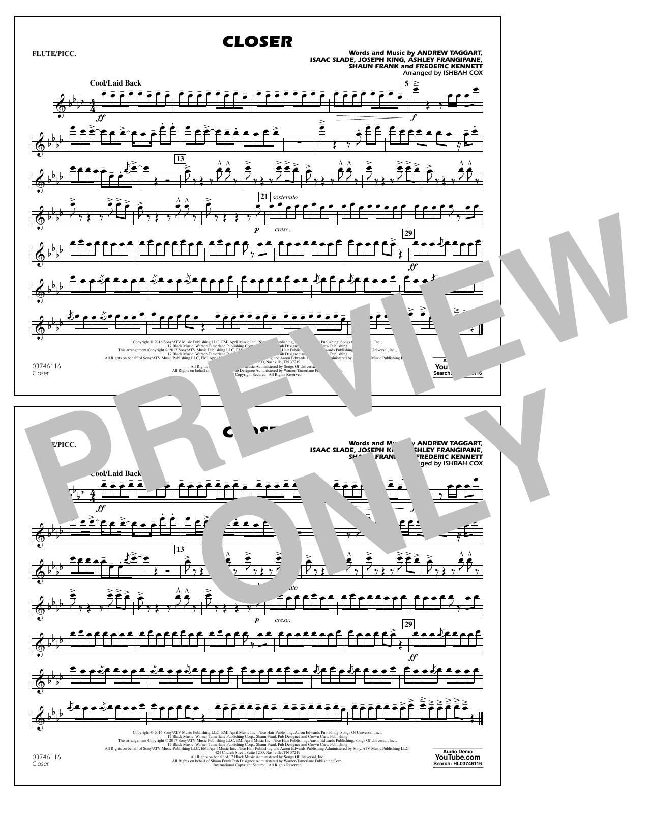 Closer - Flute/Piccolo Sheet Music