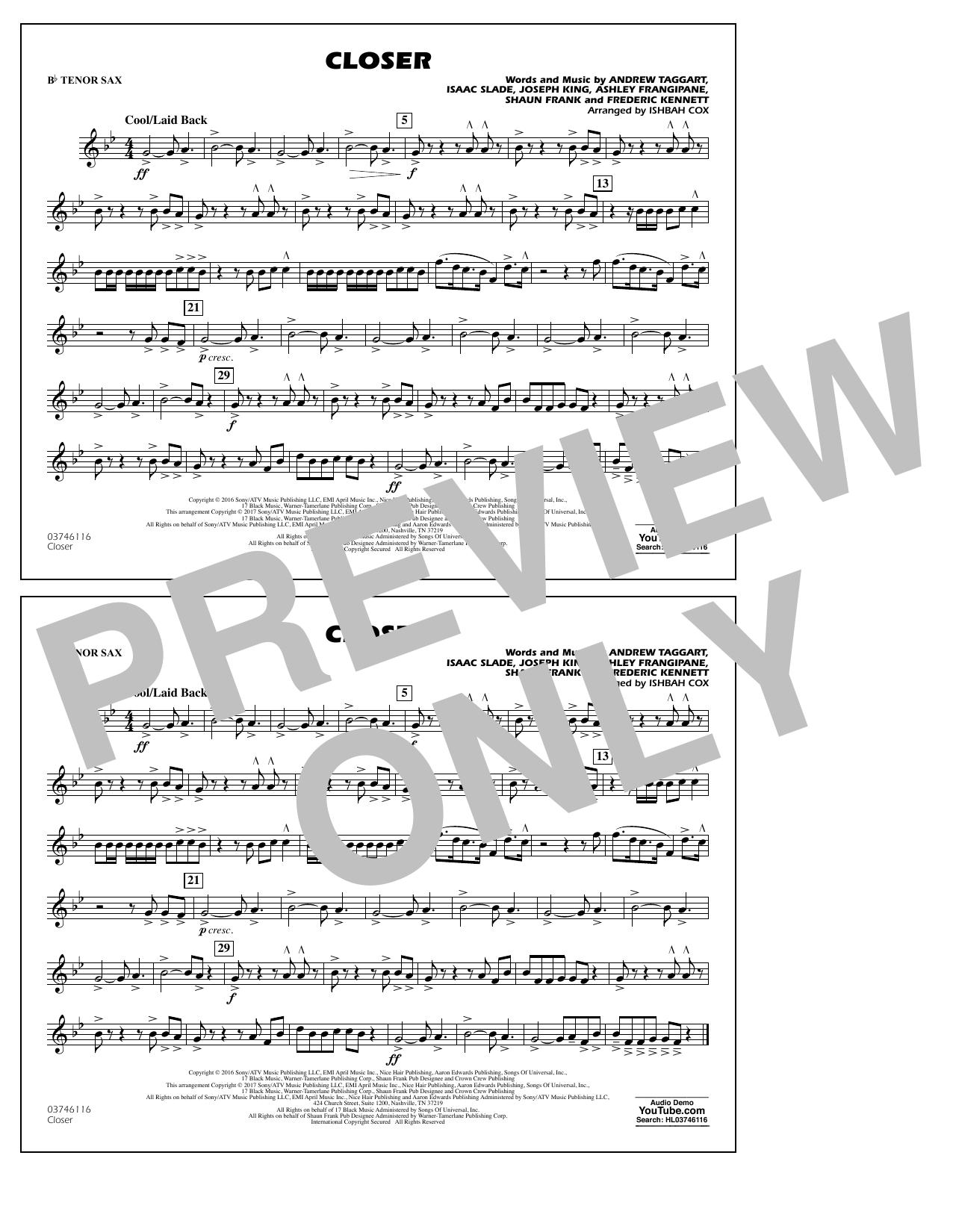 Closer - Bb Tenor Sax Digitale Noten