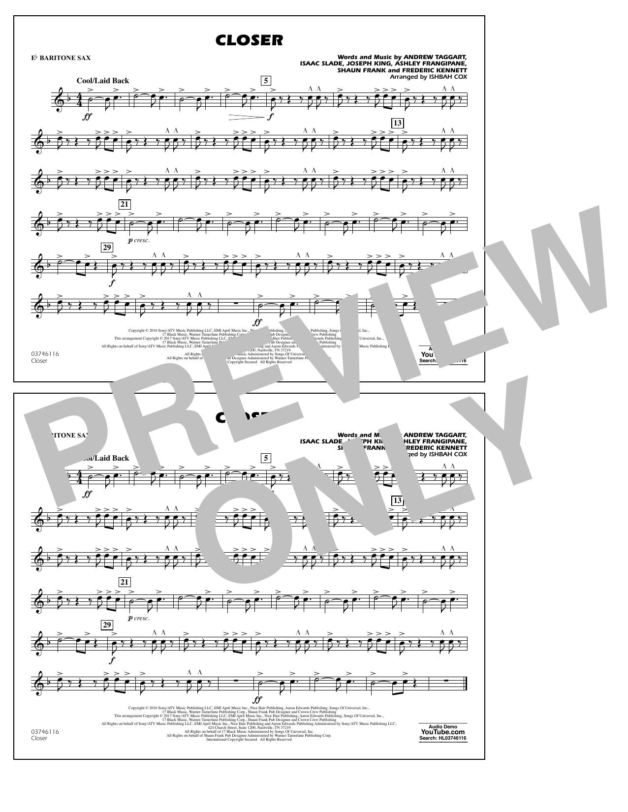 Closer - Eb Baritone Sax Sheet Music