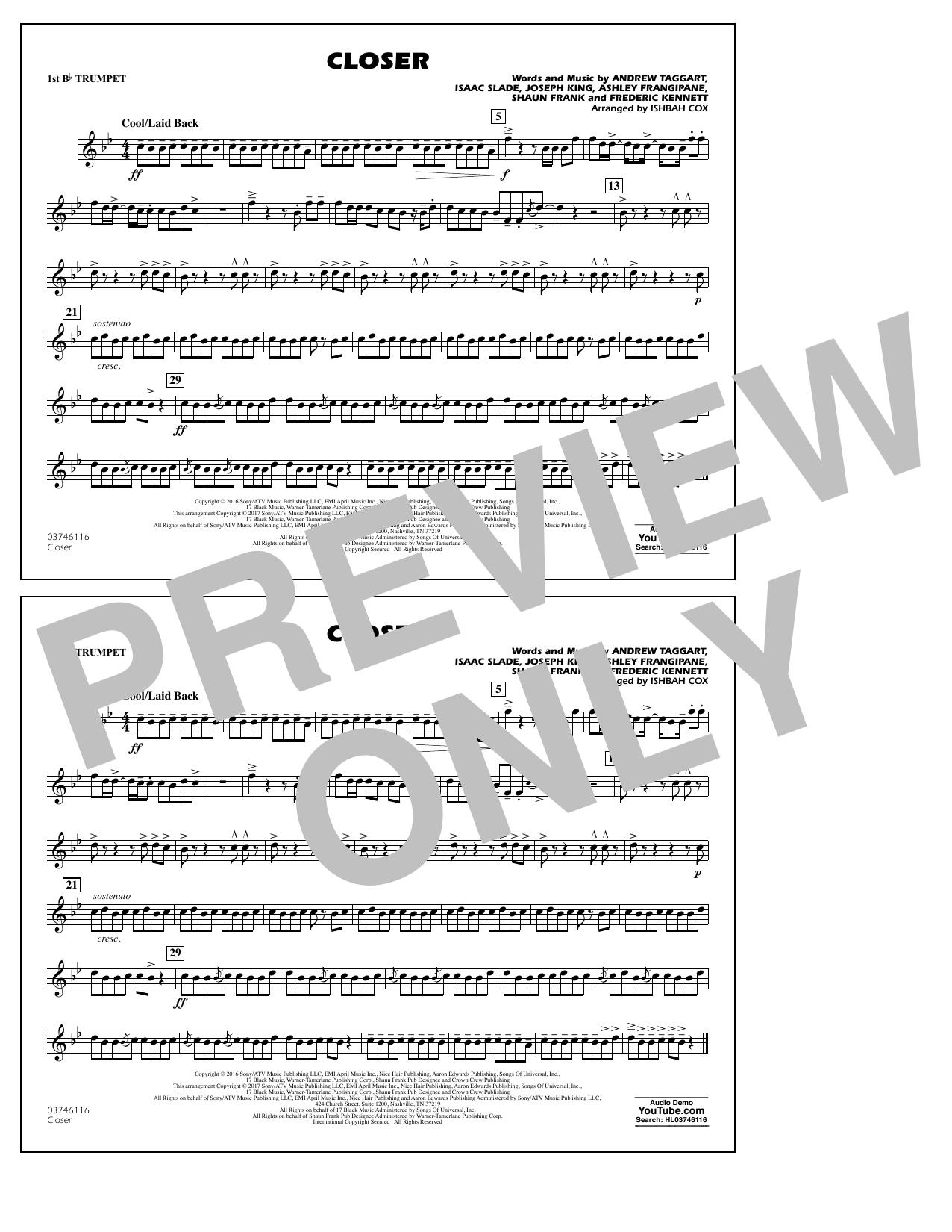 Closer - 1st Bb Trumpet Sheet Music