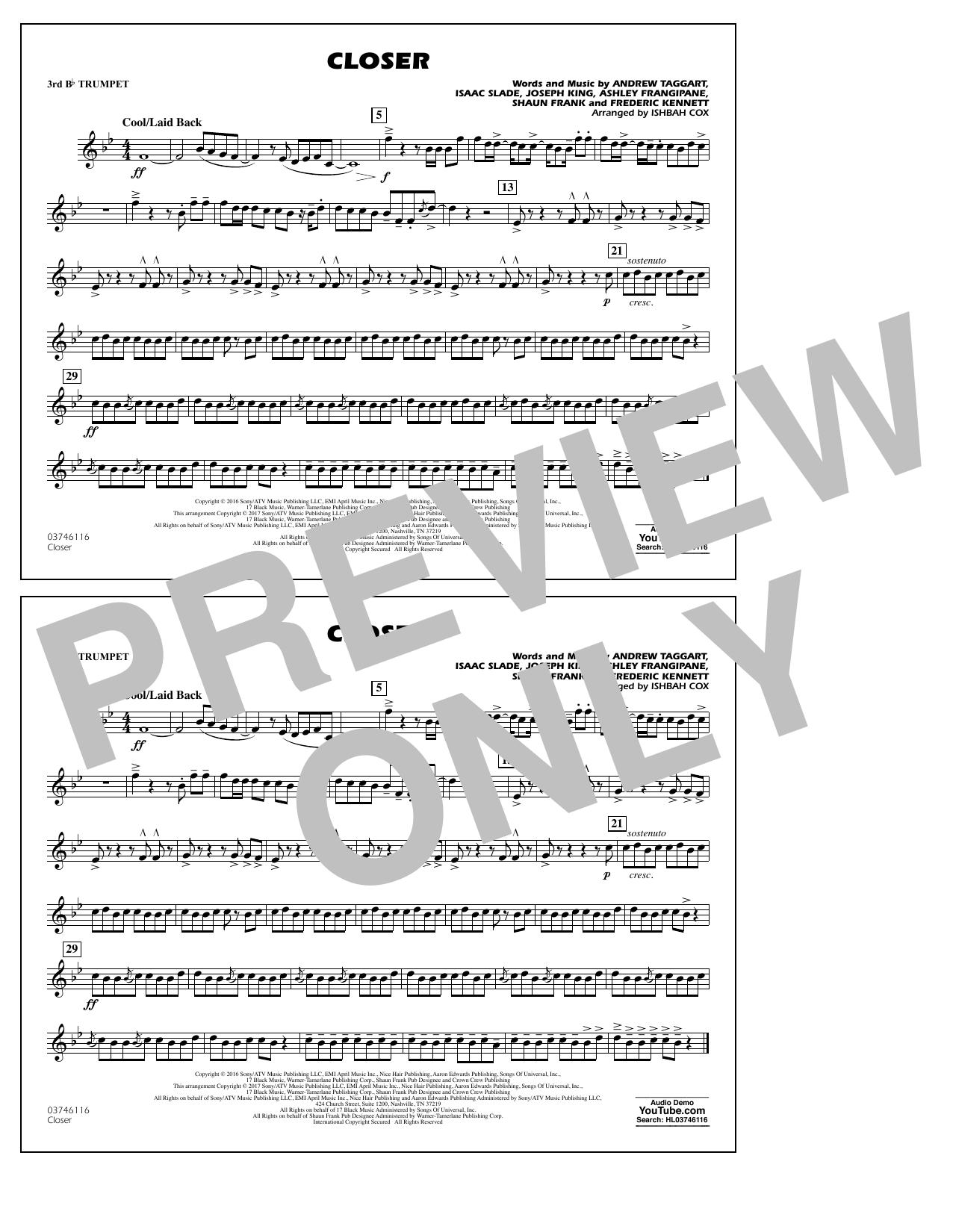 Closer - 3rd Bb Trumpet Sheet Music