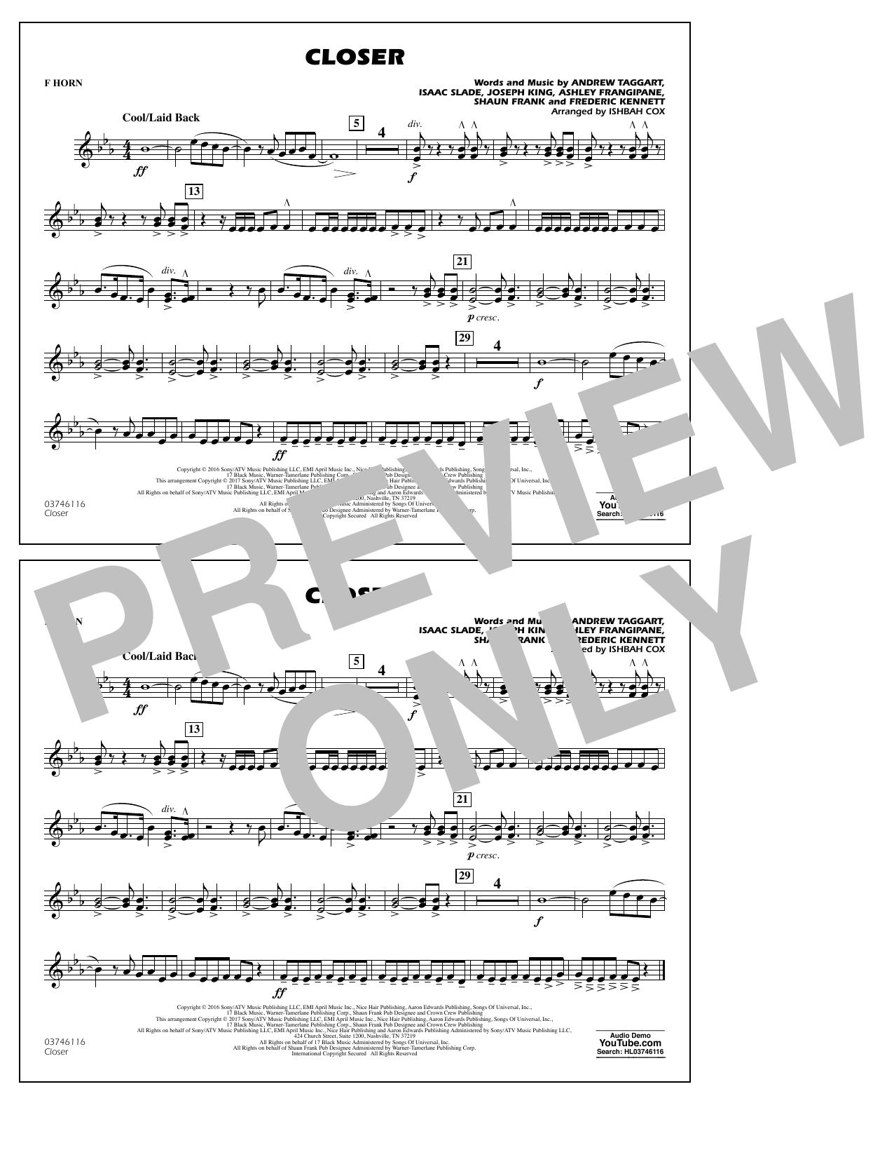Closer - F Horn Sheet Music