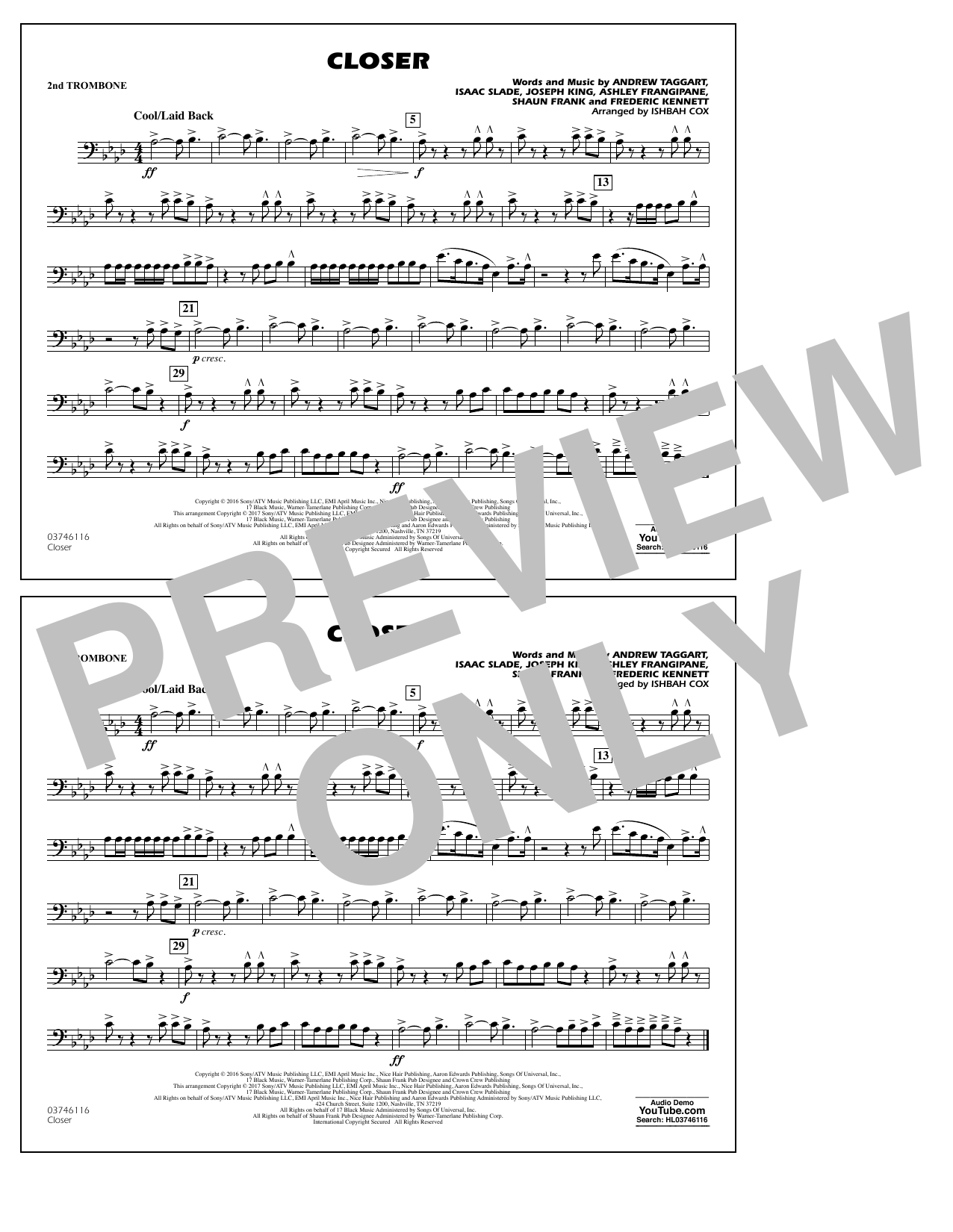 Closer - 2nd Trombone Sheet Music