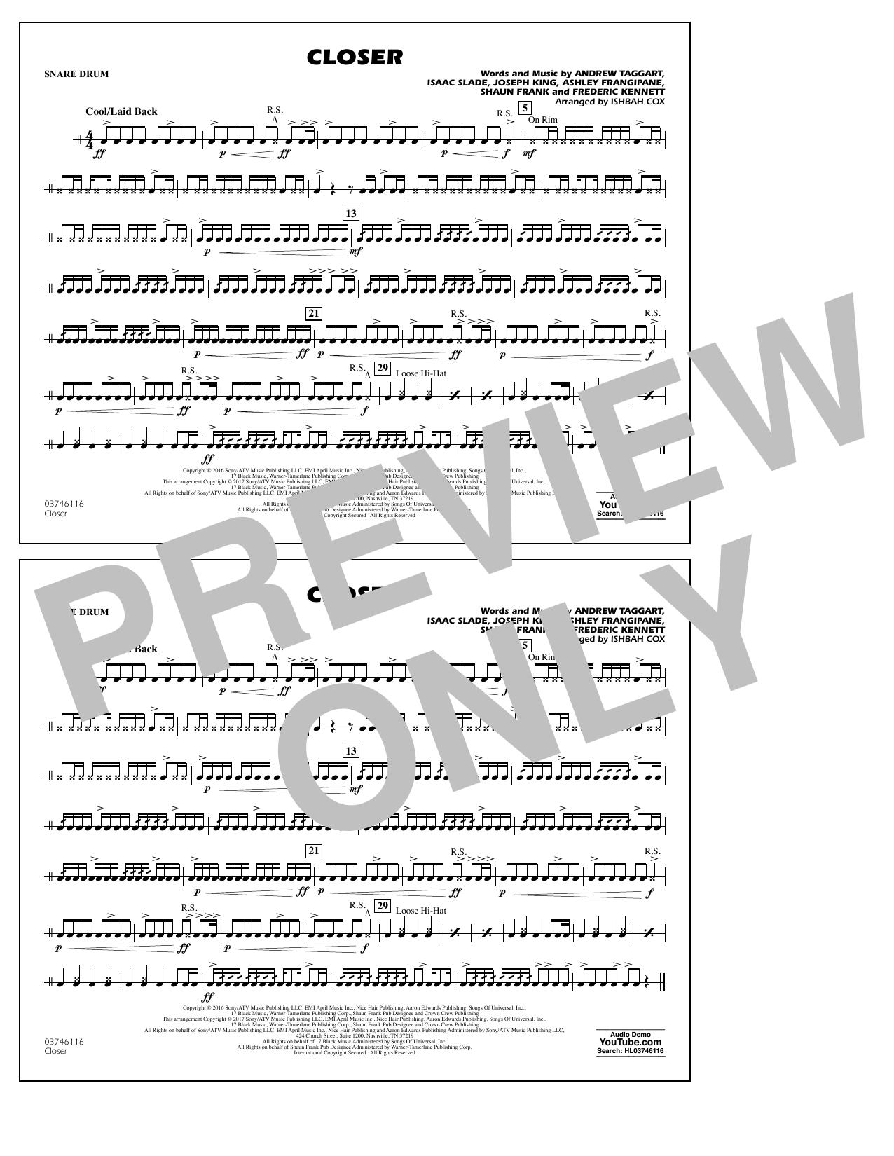 Closer - Snare Drum Sheet Music