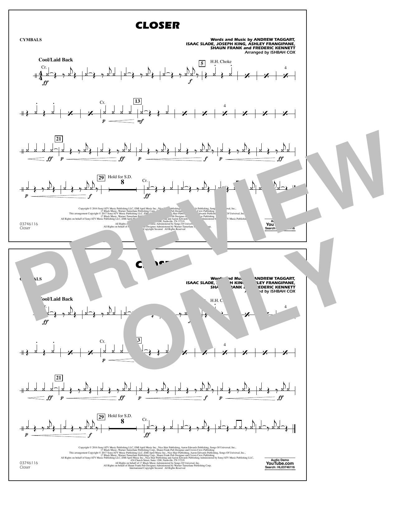 Closer - Cymbals Sheet Music
