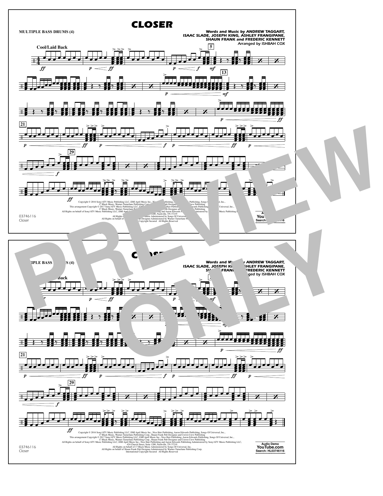 Closer - Multiple Bass Drums Sheet Music