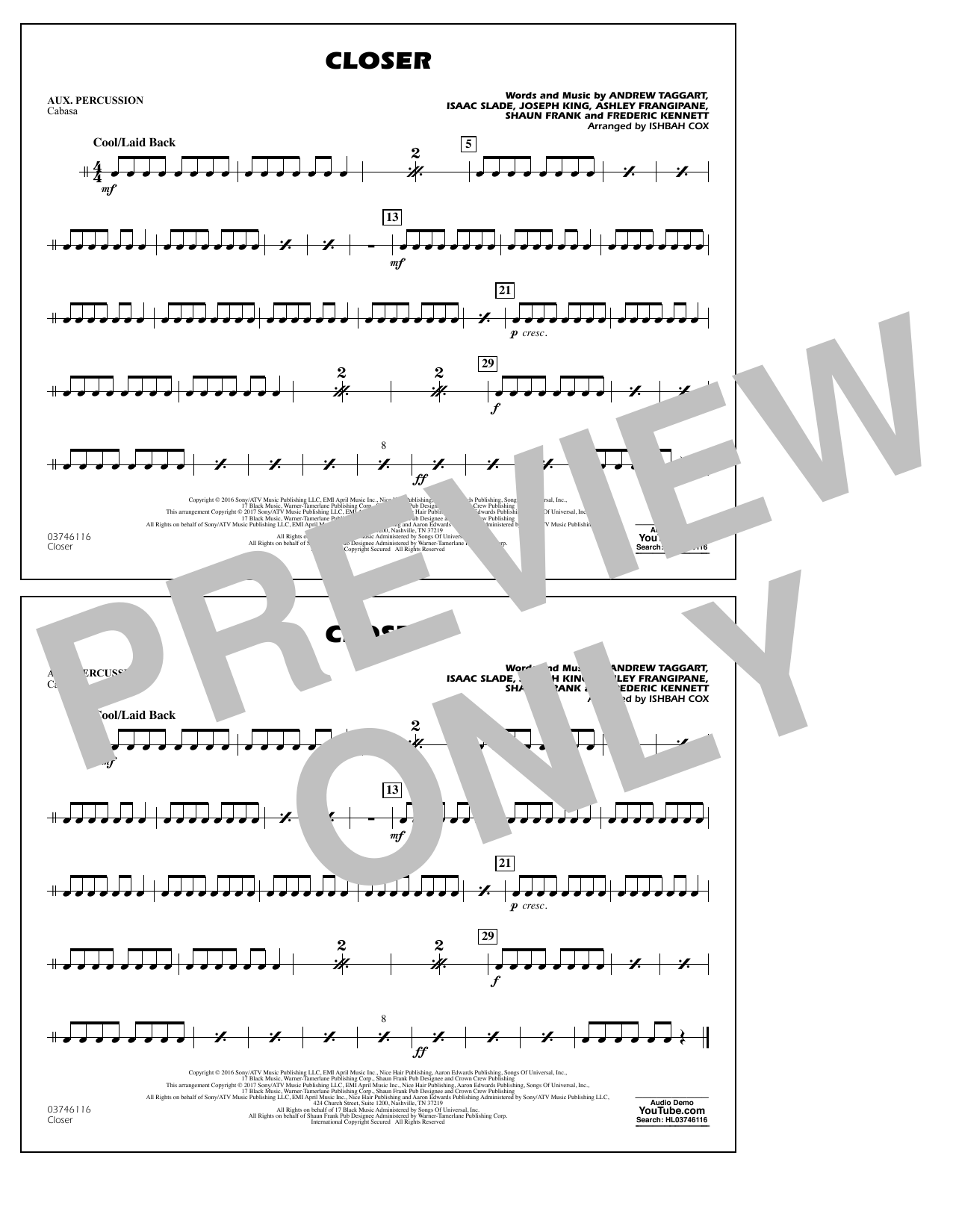 Closer - Aux Percussion Sheet Music