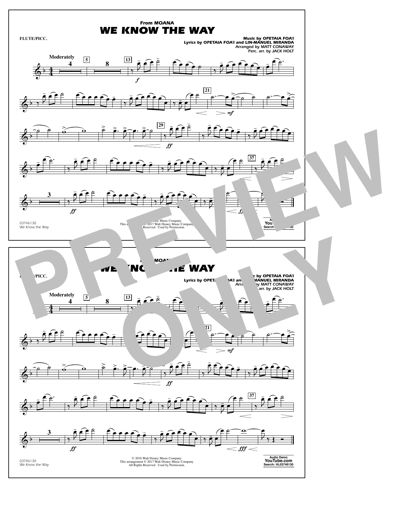 We Know the Way (from Moana) - Flute/Piccolo Partituras Digitales