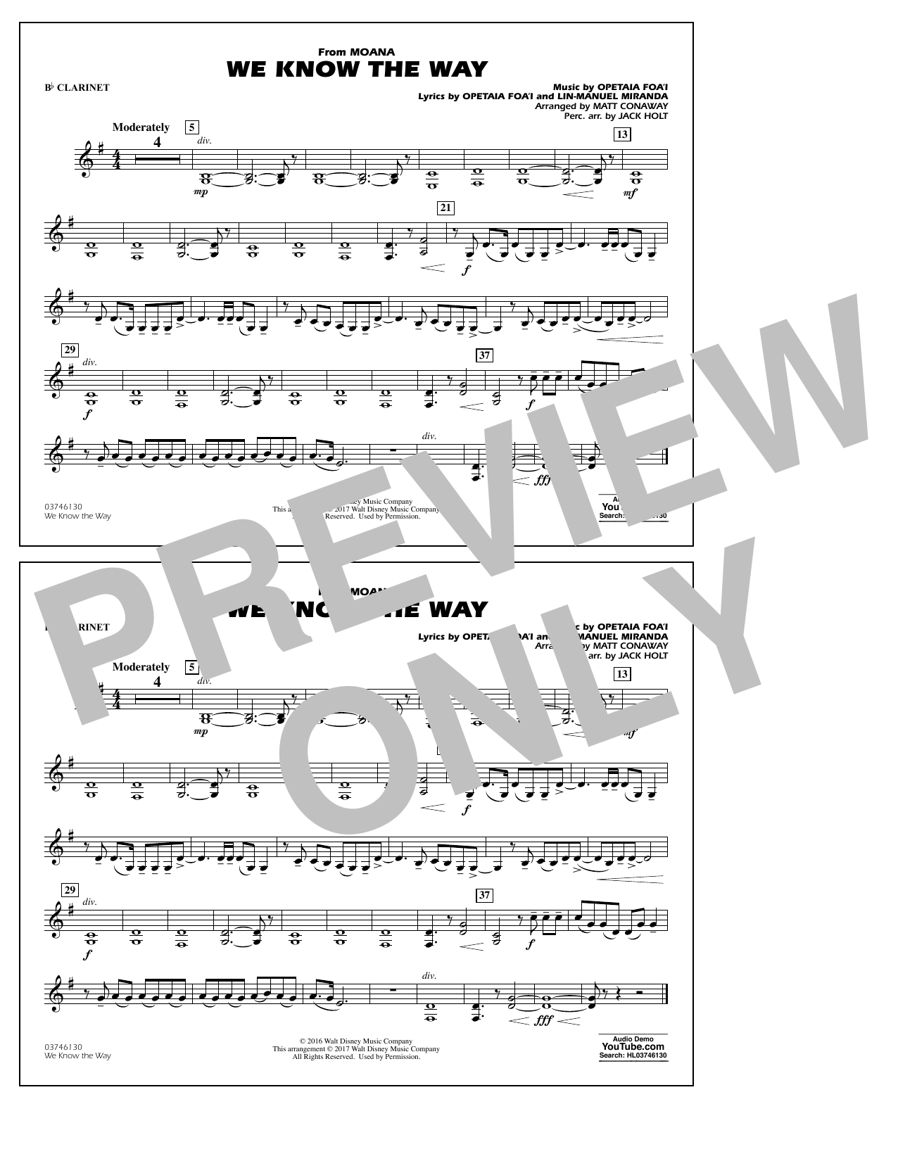 We Know the Way (from Moana) - Bb Clarinet Sheet Music