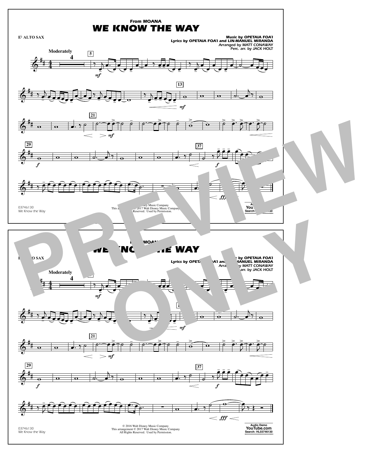 We Know the Way (from Moana) - Eb Alto Sax Sheet Music
