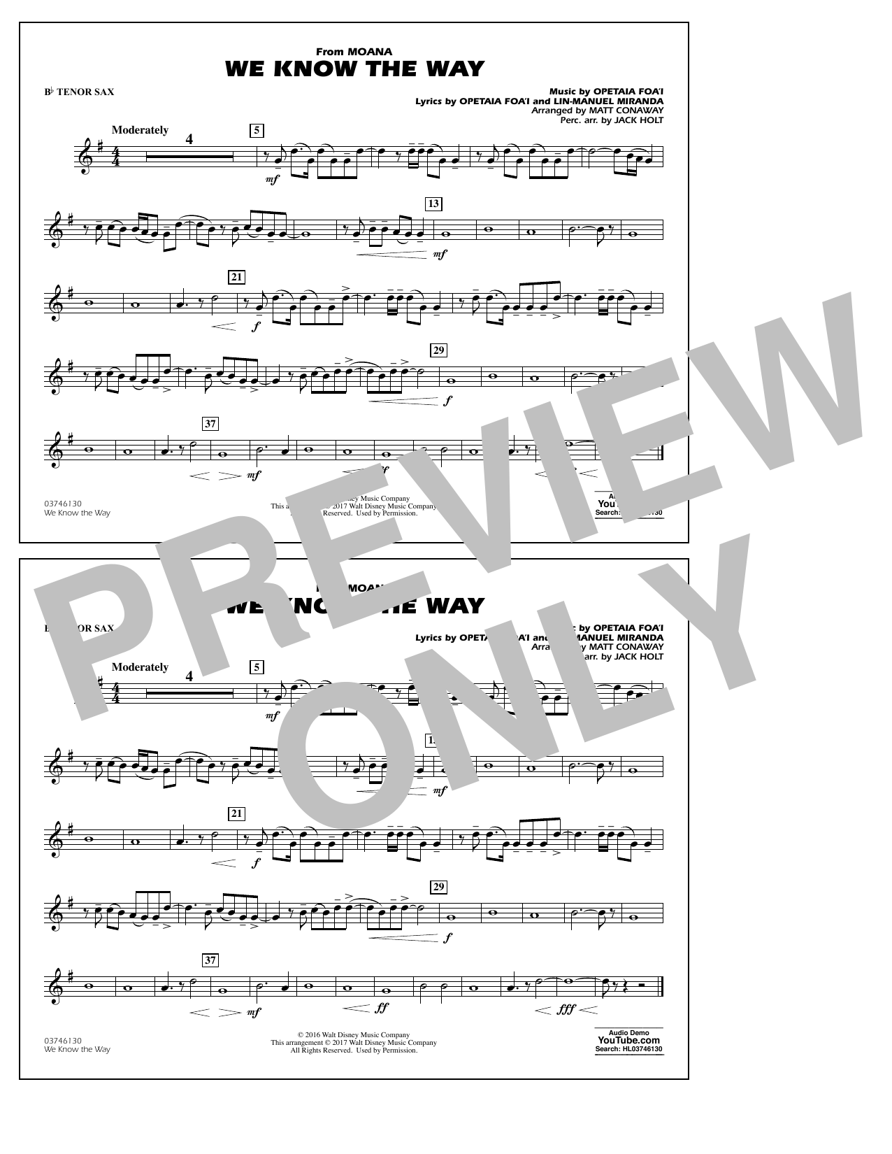 We Know the Way (from Moana) - Bb Tenor Sax Sheet Music