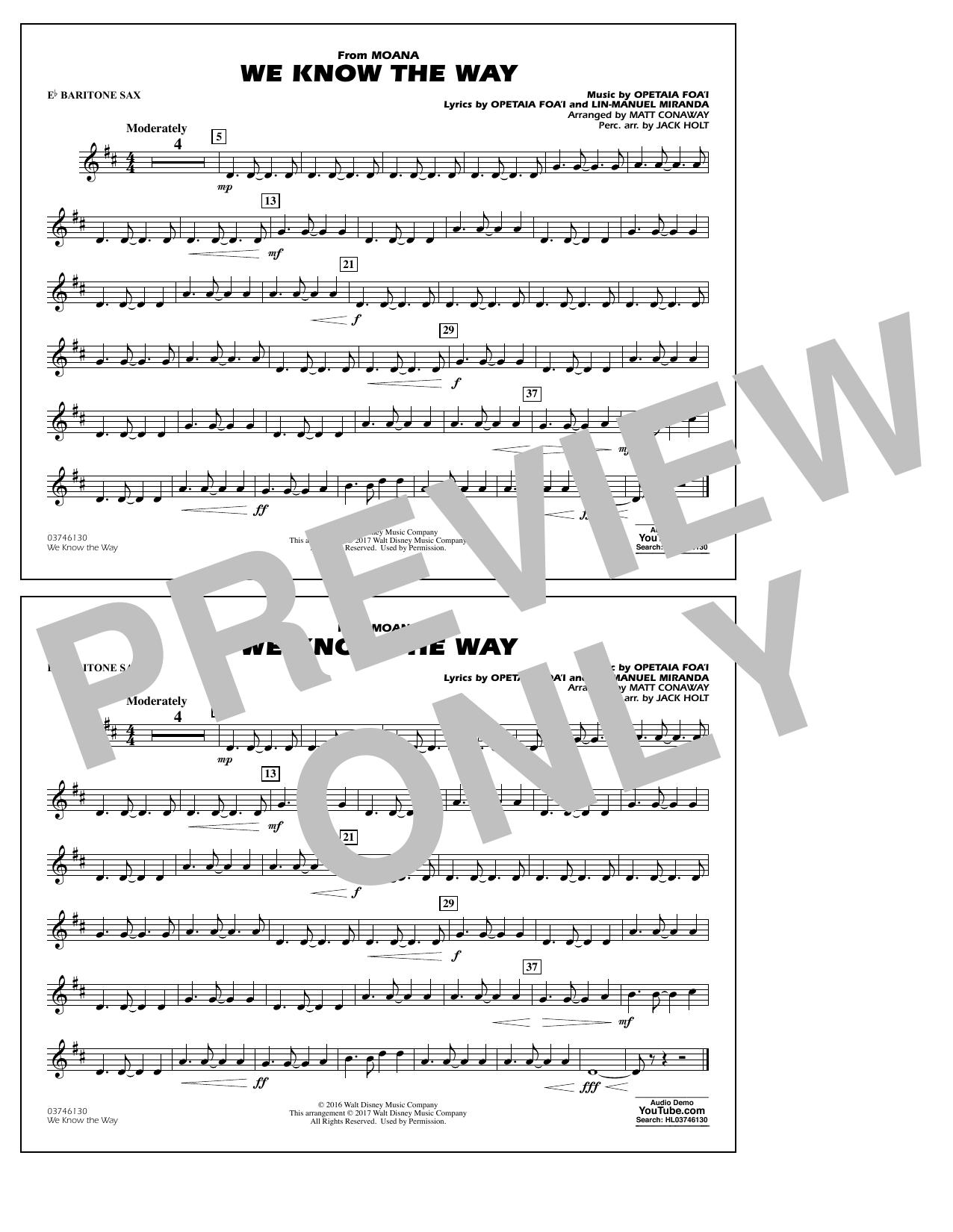 We Know the Way (from Moana) - Eb Baritone Sax Sheet Music