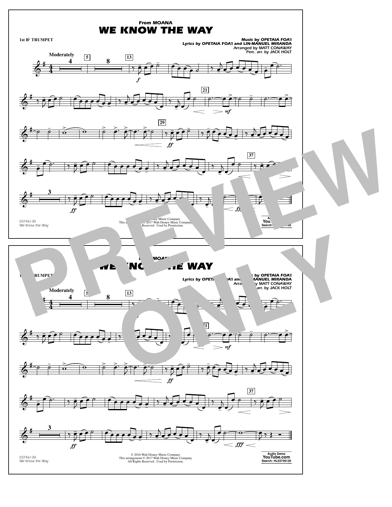We Know the Way (from Moana) - 1st Bb Trumpet Digitale Noten