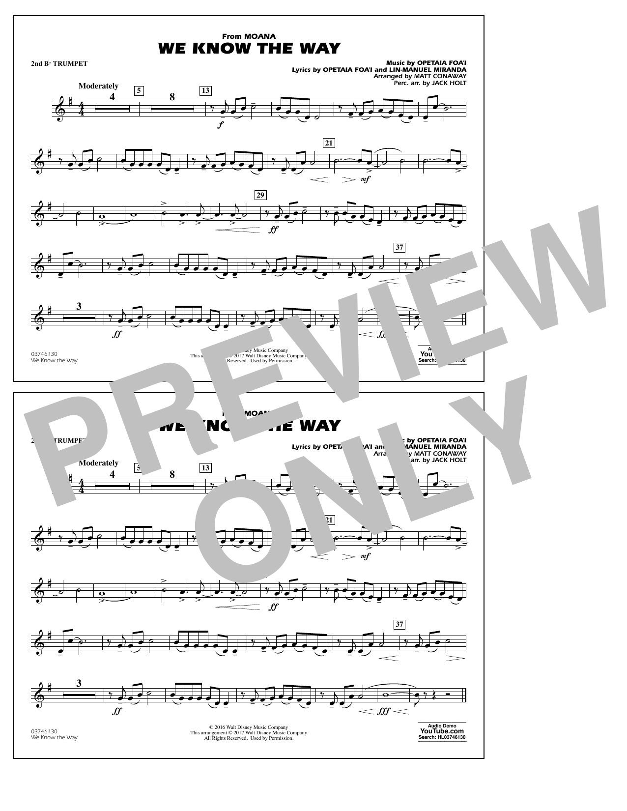 We Know the Way (from Moana) - 2nd Bb Trumpet Sheet Music