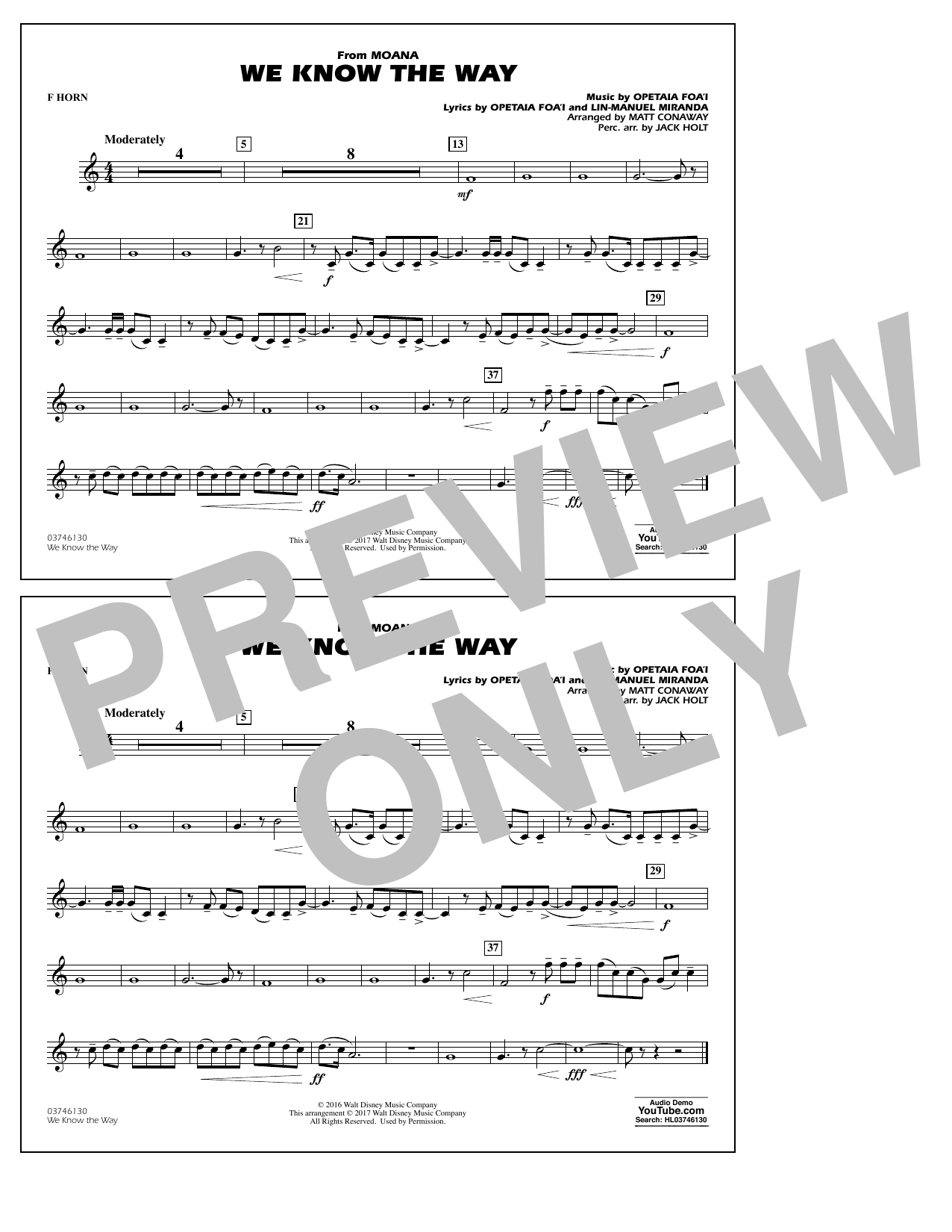 We Know the Way (from Moana) - F Horn Sheet Music