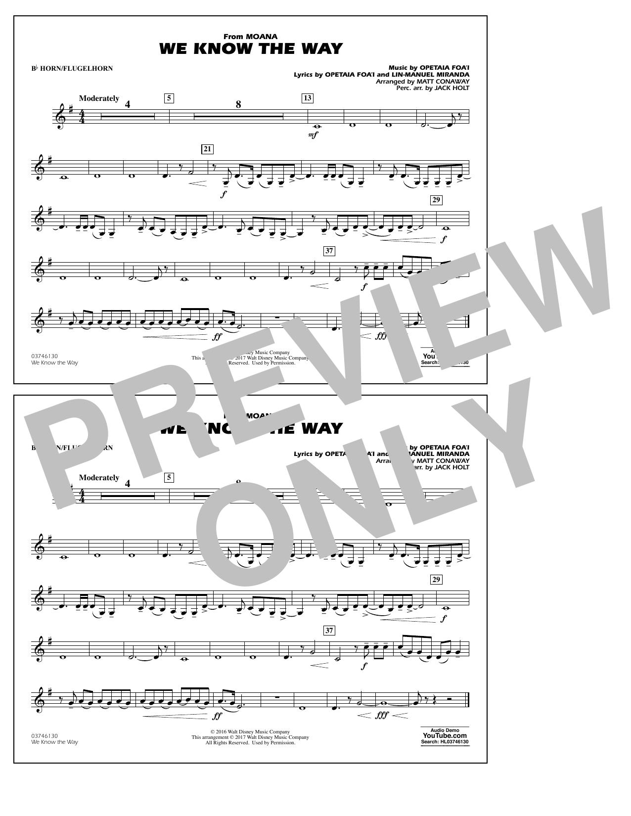 We Know the Way (from Moana) - Bb Horn/Flugelhorn Sheet Music