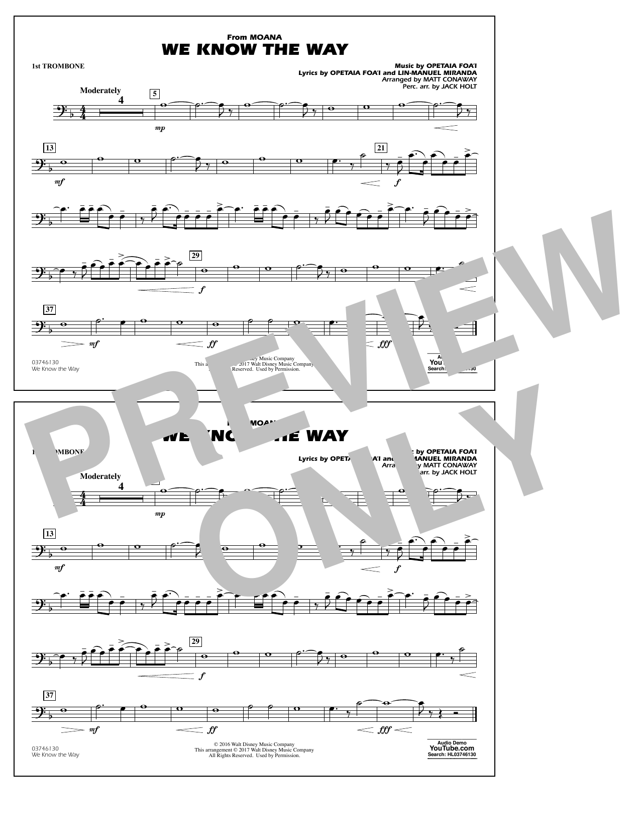 We Know the Way (from Moana) - 1st Trombone Sheet Music