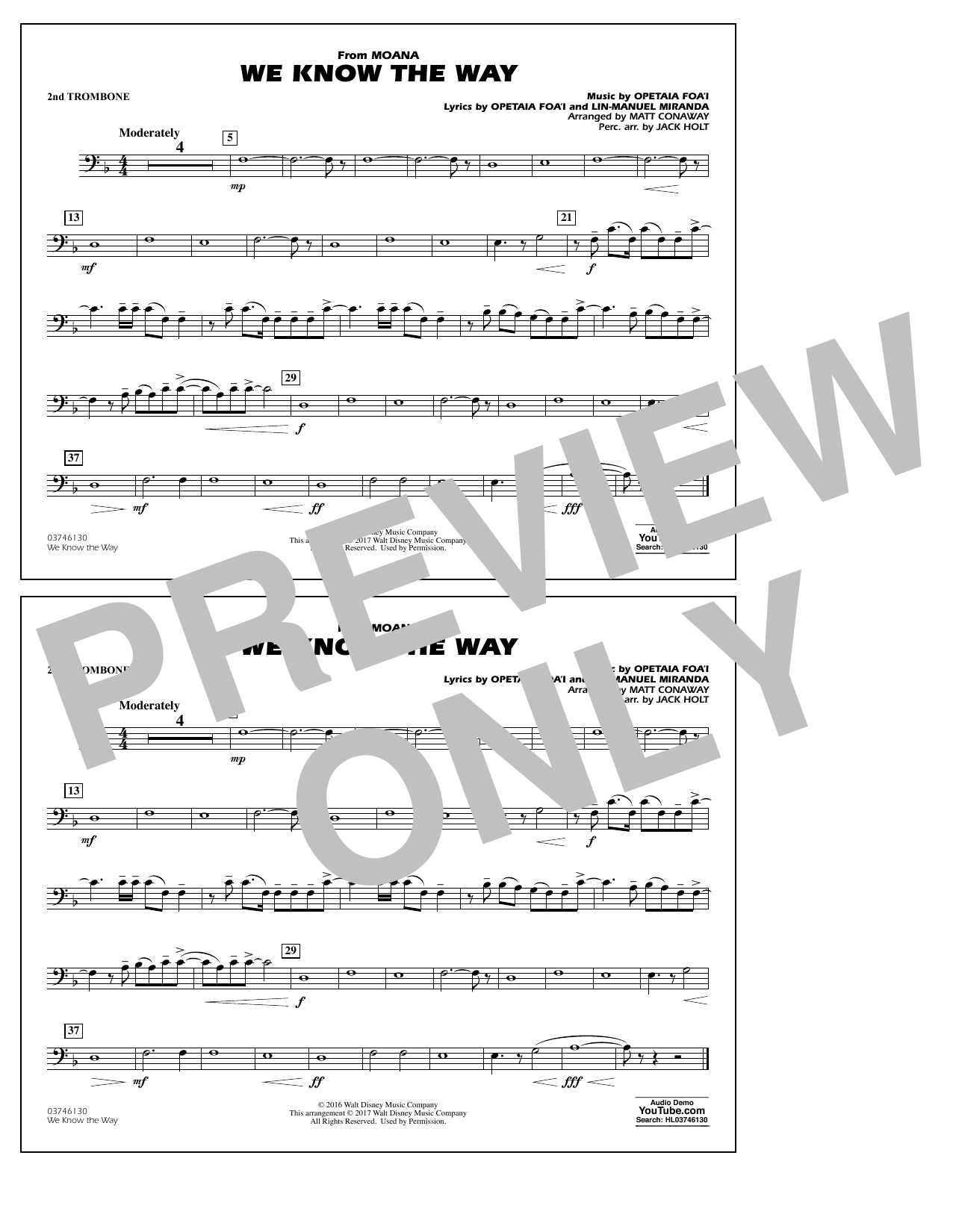 We Know the Way (from Moana) - 2nd Trombone Sheet Music