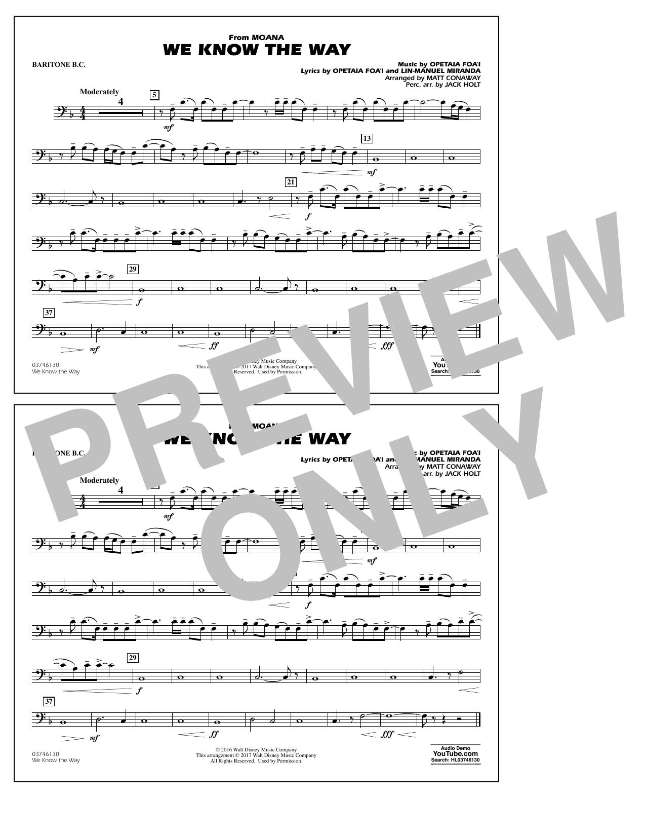 We Know the Way (from Moana) - Baritone B.C. Sheet Music