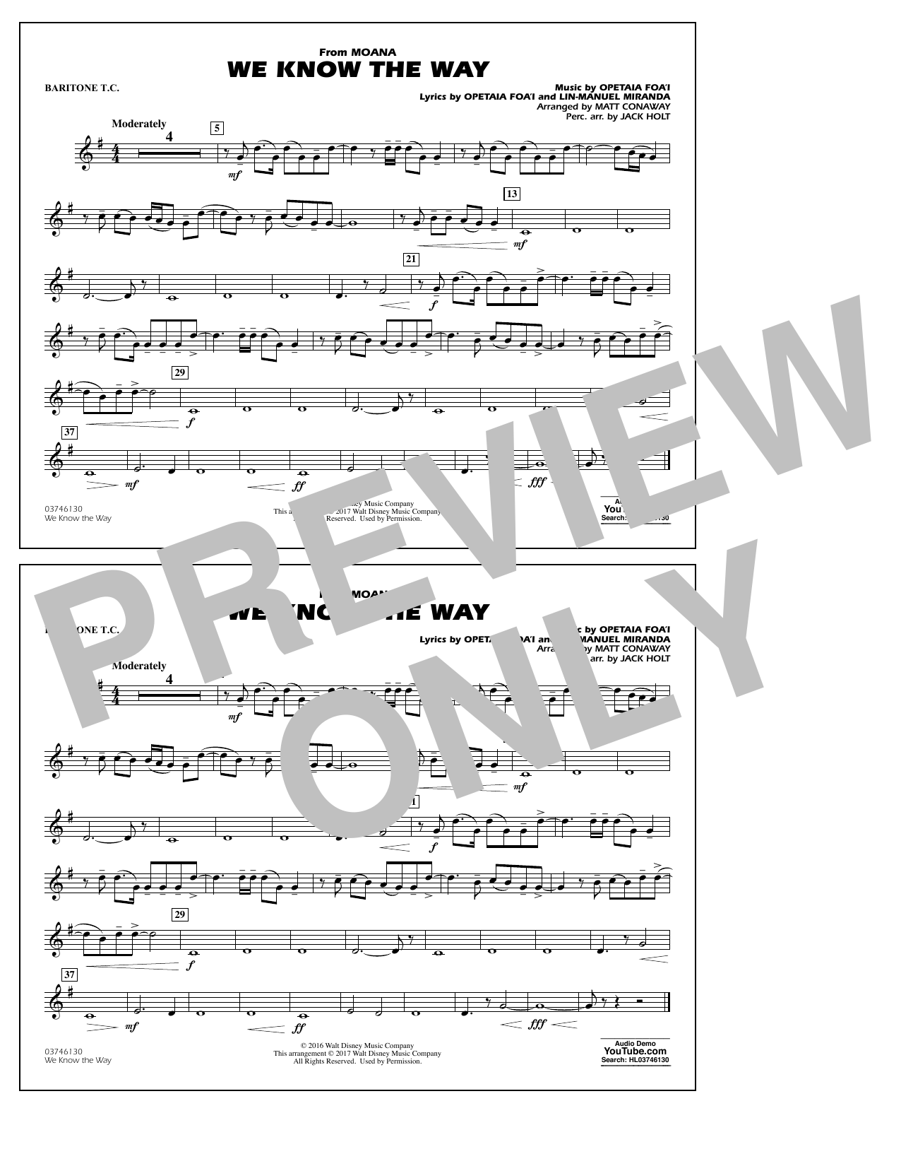 We Know the Way (from Moana) - Baritone T.C. Digitale Noten
