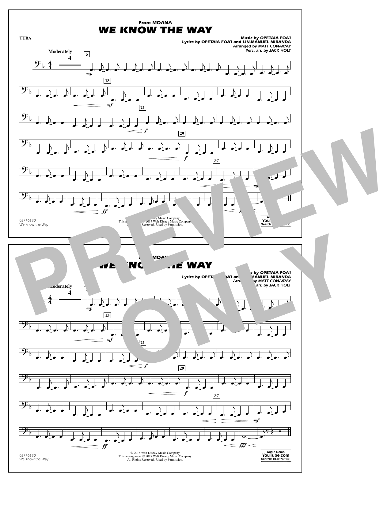 We Know the Way (from Moana) - Tuba Sheet Music