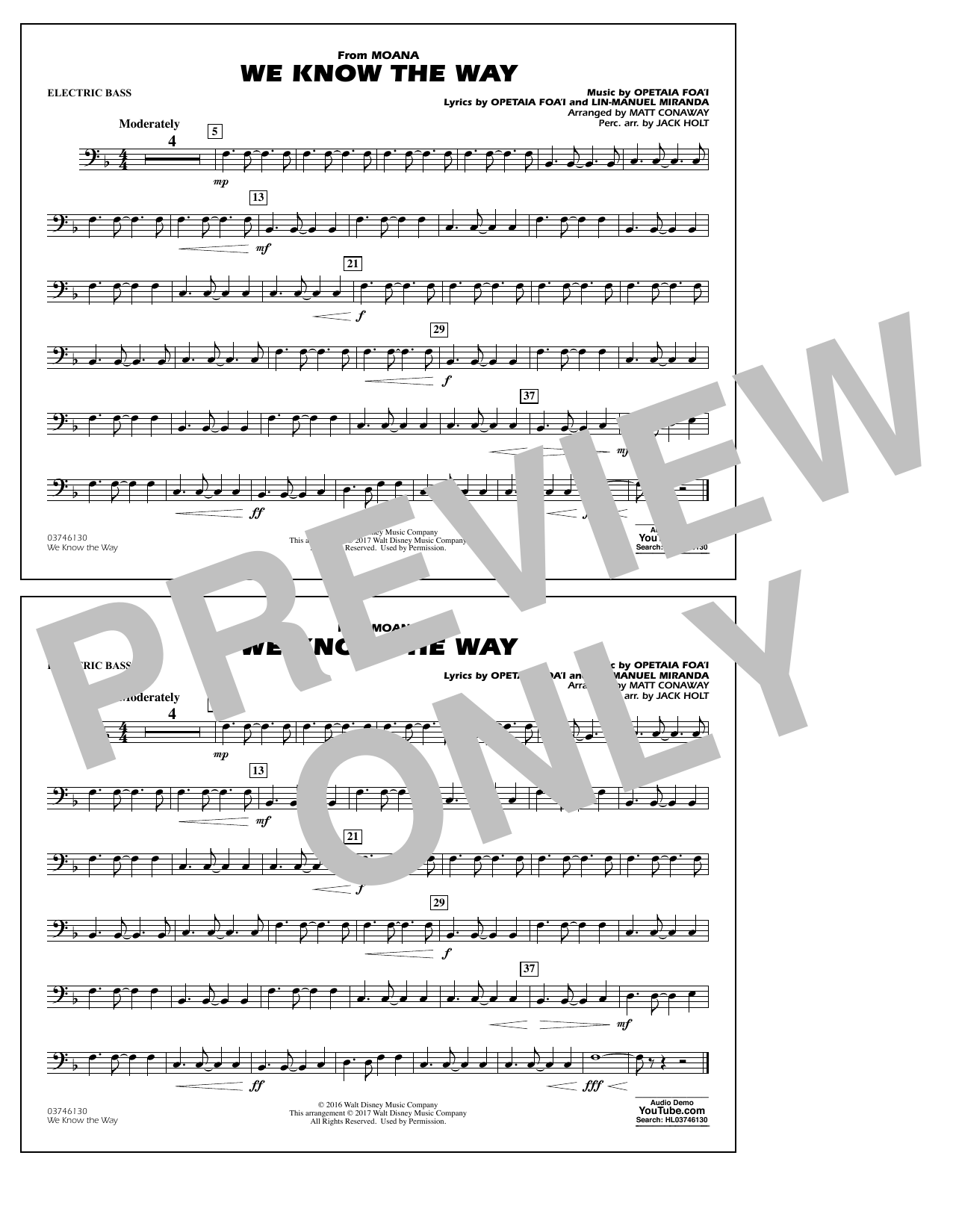 We Know the Way (from Moana) - Electric Bass Sheet Music