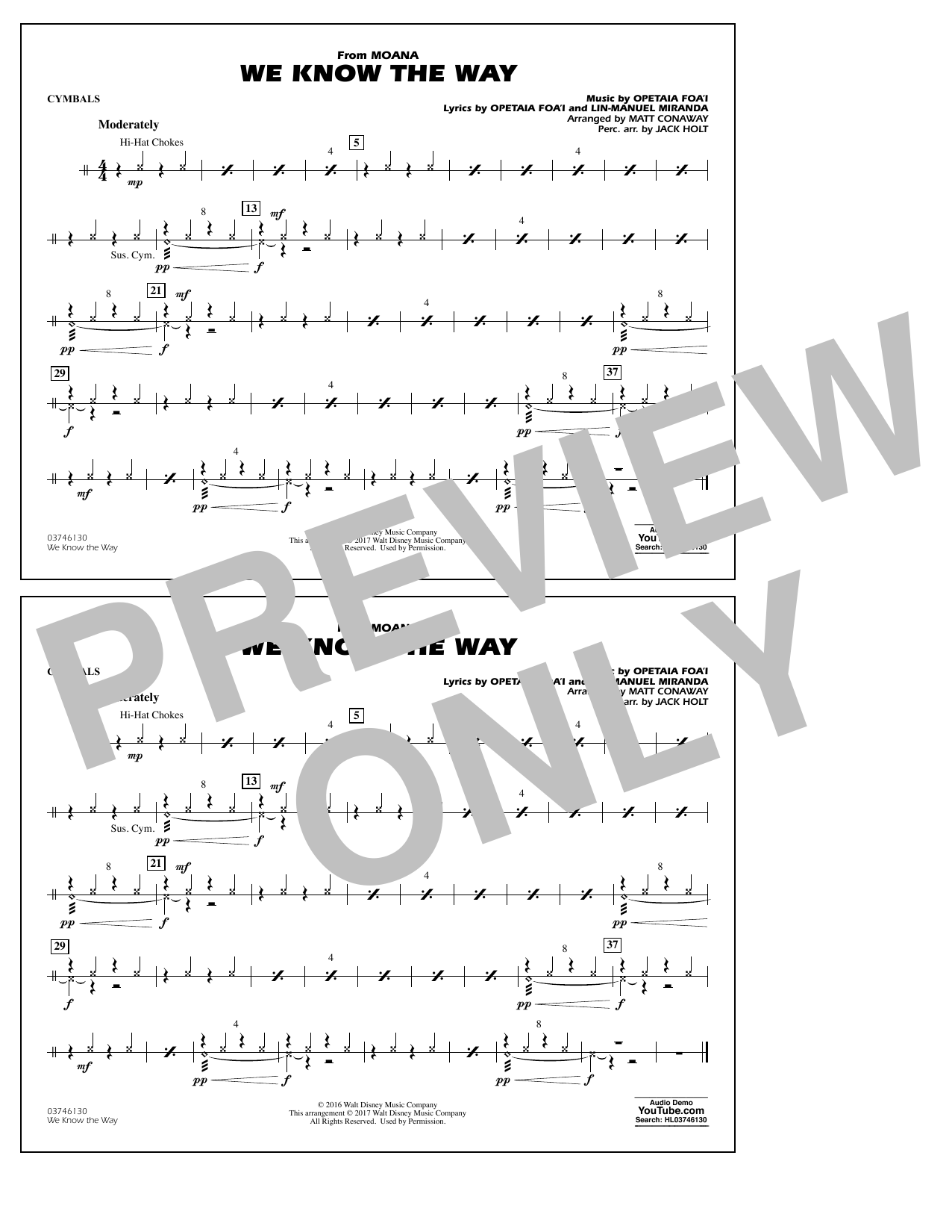 We Know the Way (from Moana) - Cymbals Sheet Music