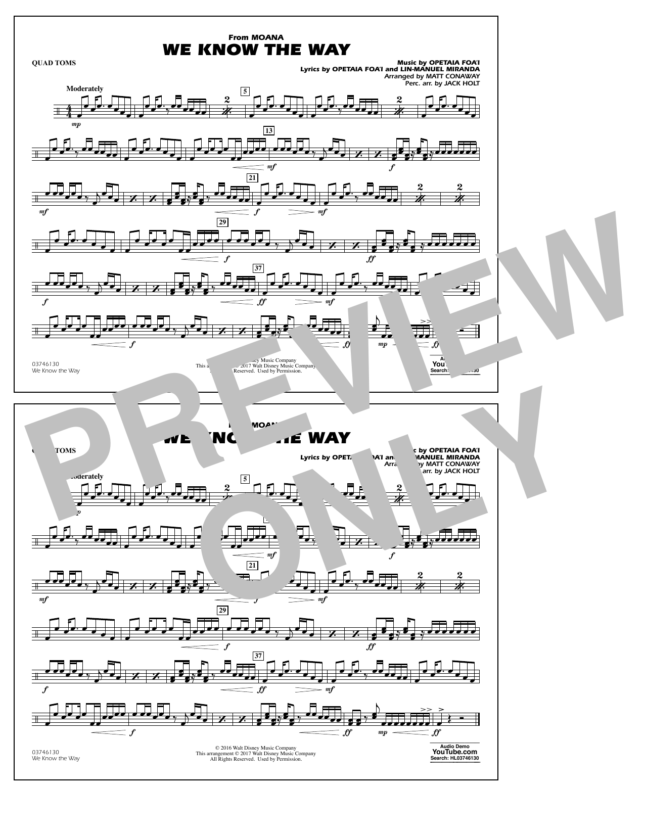 We Know the Way (from Moana) - Quad Toms Sheet Music