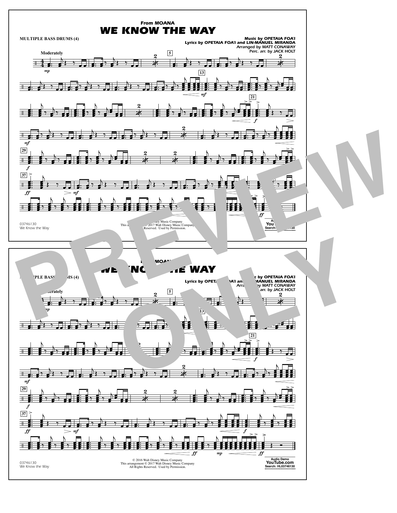 We Know the Way (from Moana) - Multiple Bass Drums Sheet Music