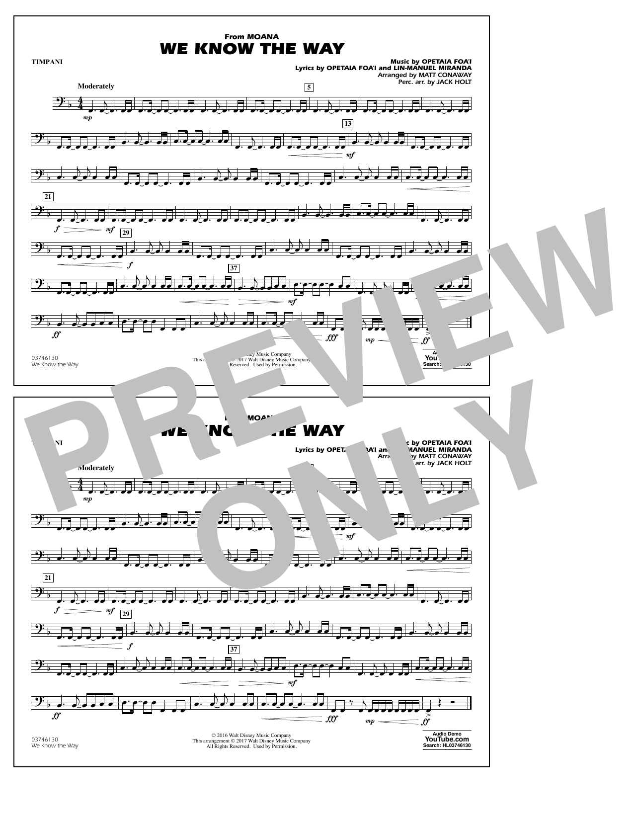 We Know the Way (from Moana) - Timpani Sheet Music
