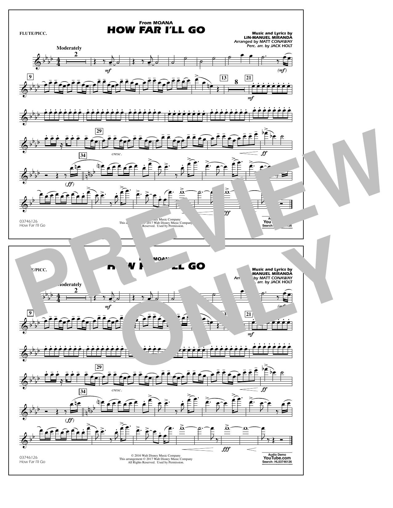 How Far I'll Go (from Moana) - Flute/Piccolo Sheet Music
