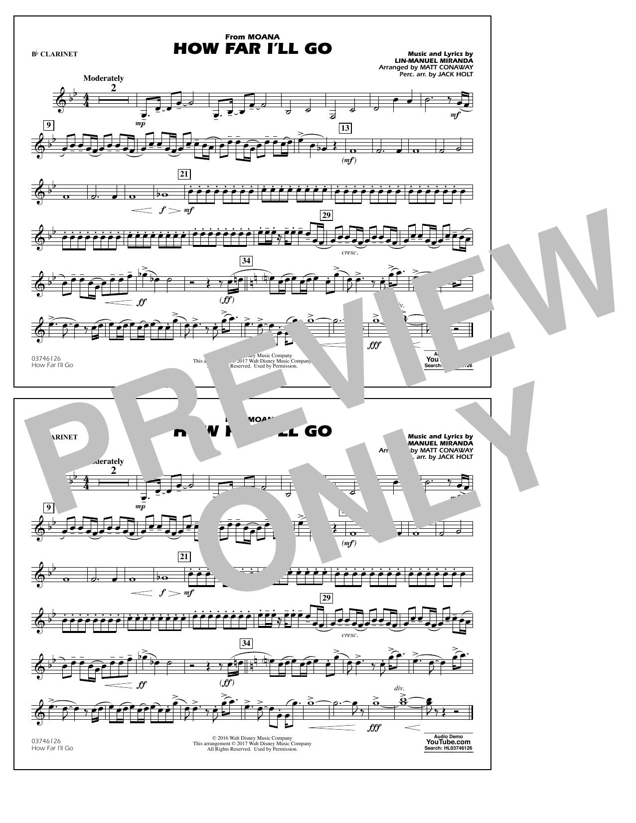 How Far I'll Go (from Moana) - Bb Clarinet (Marching Band)