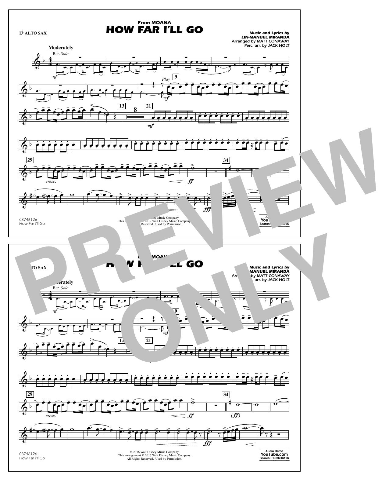 How Far I'll Go (from Moana) - Eb Alto Sax Sheet Music