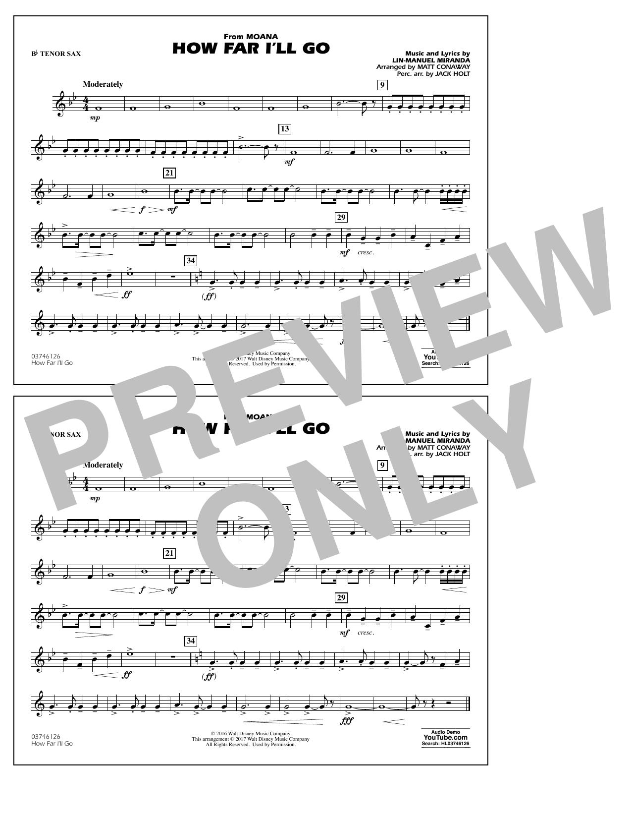 How Far I'll Go (from Moana) - Bb Tenor Sax Sheet Music