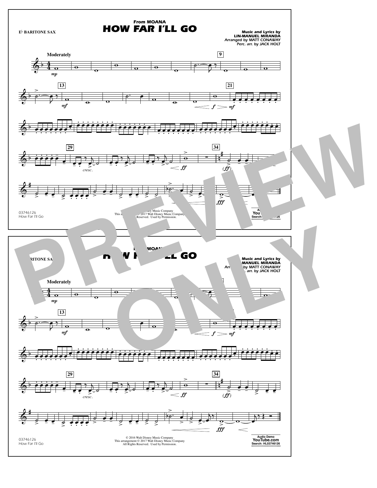 How Far I'll Go (from Moana) - Eb Baritone Sax Partition Digitale