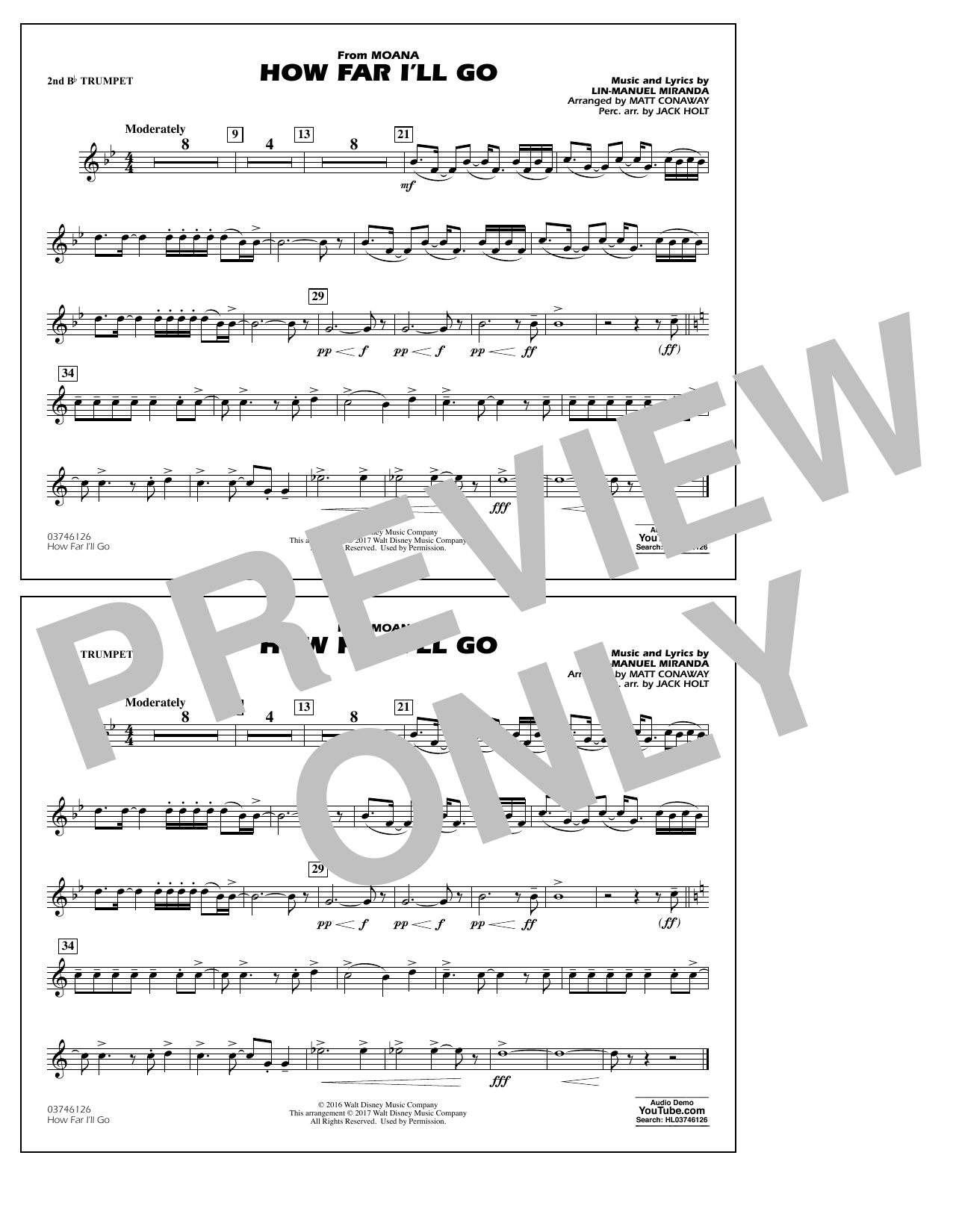 How Far I'll Go (from Moana) - 2nd Bb Trumpet Sheet Music
