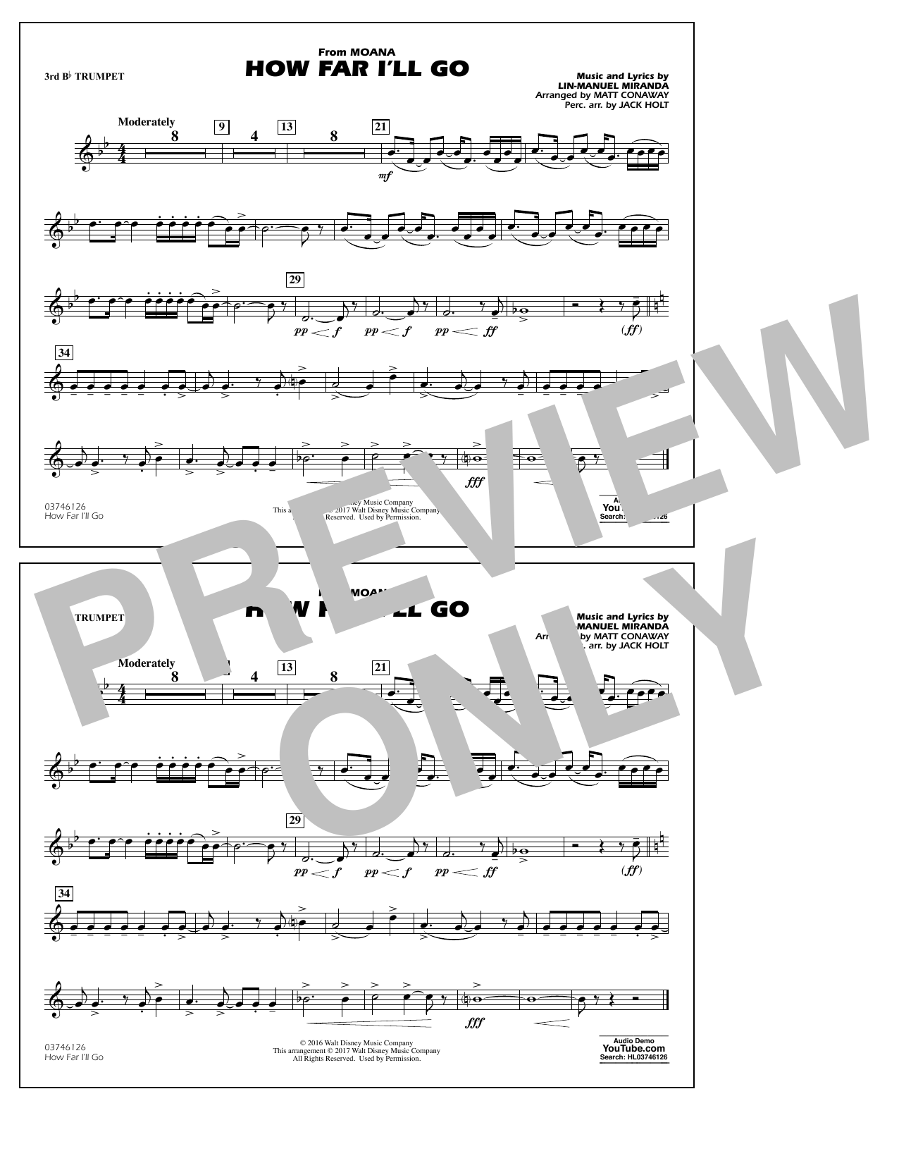 How Far I'll Go (from Moana) - 3rd Bb Trumpet Partition Digitale