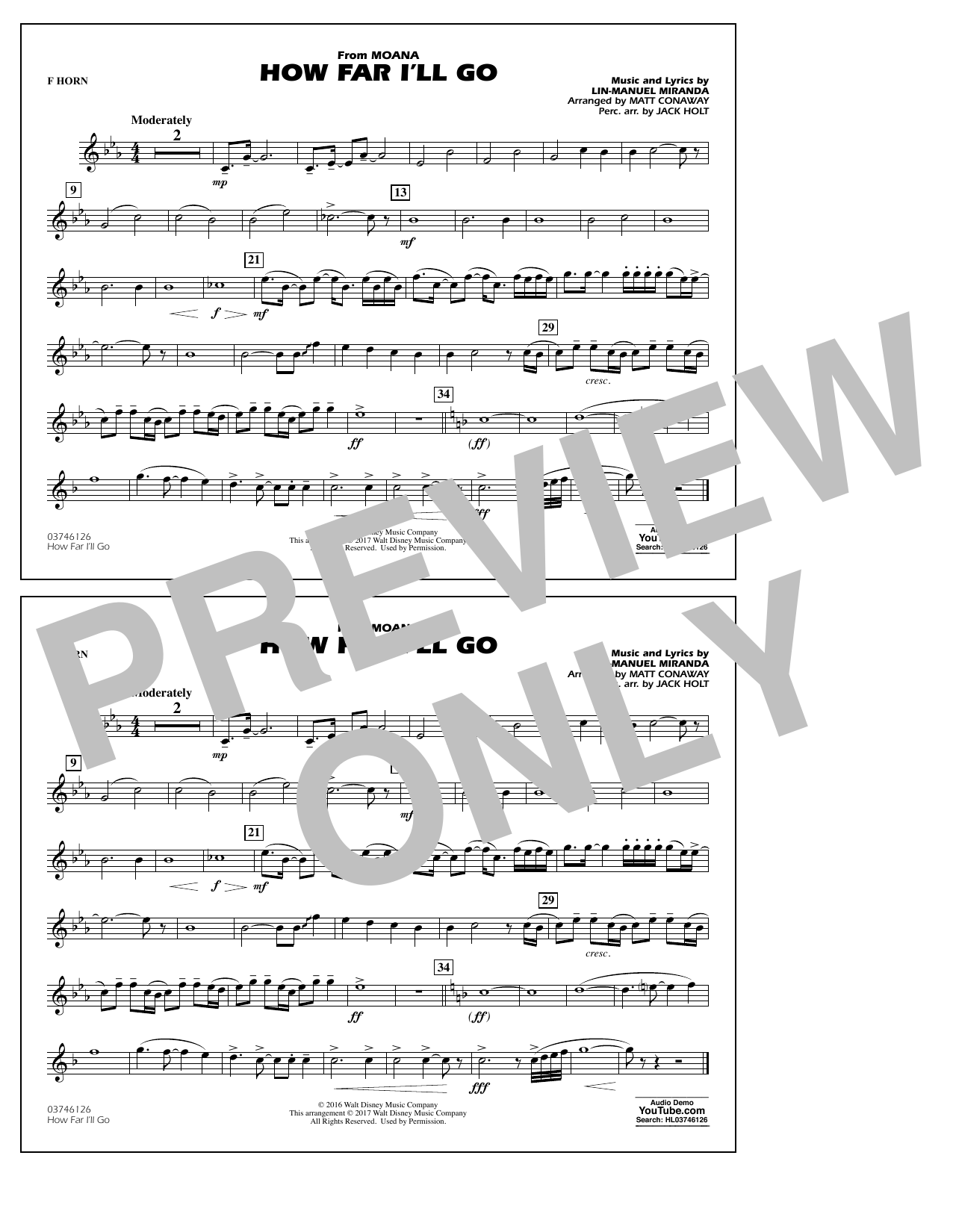 How Far I'll Go (from Moana) - F Horn Sheet Music