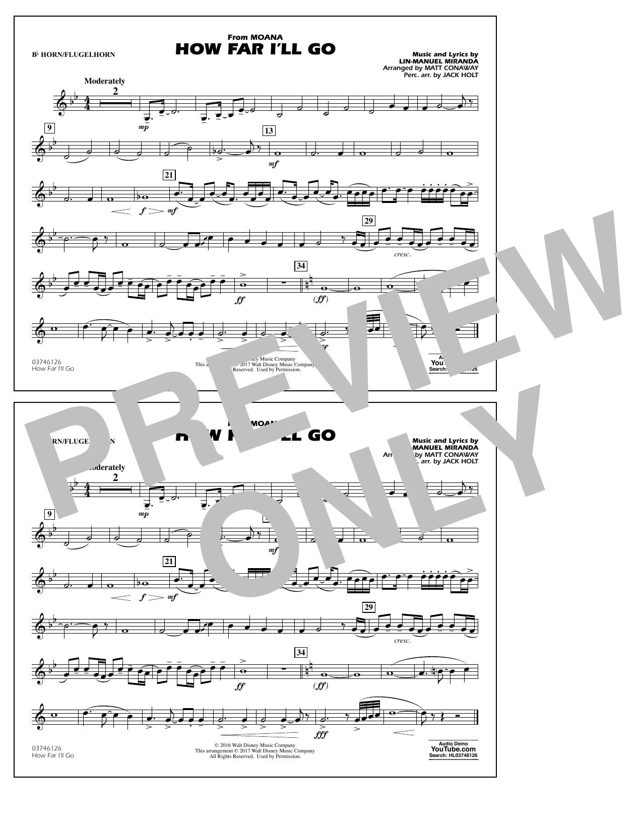 How Far I'll Go (from Moana) - Bb Horn/Flugelhorn (Marching Band)
