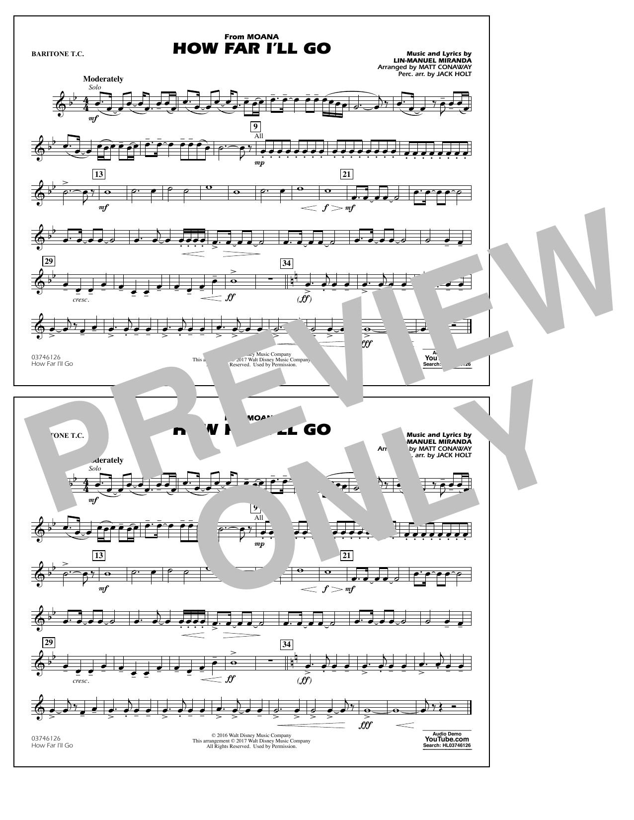 How Far I'll Go (from Moana) - Baritone T.C. Sheet Music