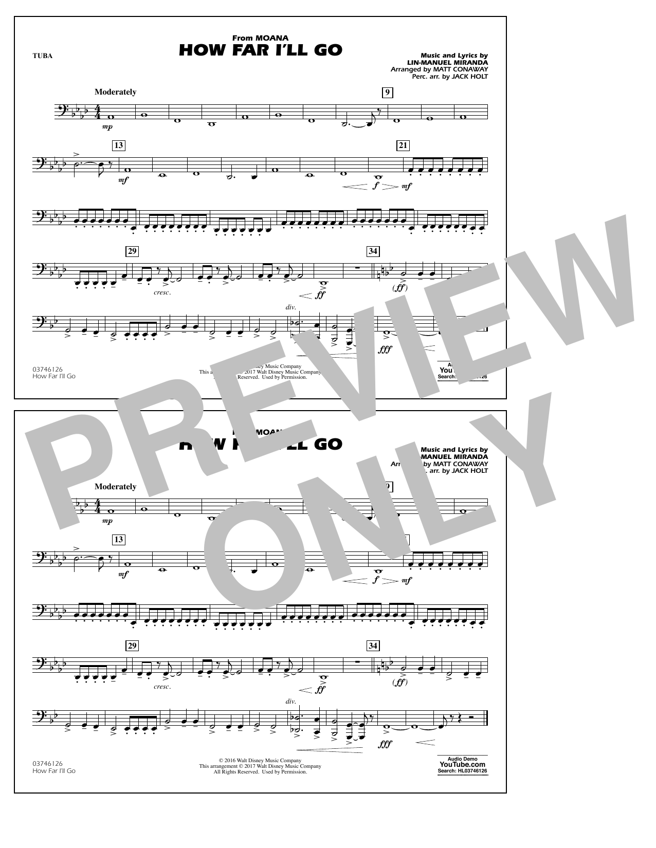 How Far I'll Go (from Moana) - Tuba Sheet Music