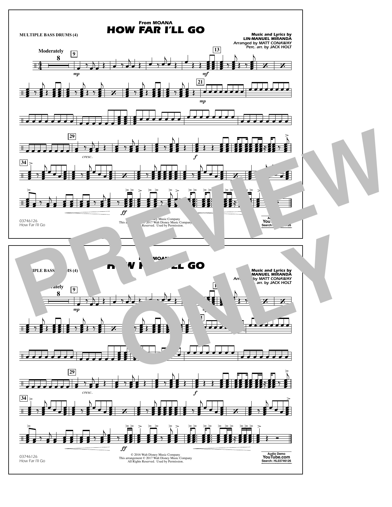 How Far I'll Go (from Moana) - Multiple Bass Drums Sheet Music