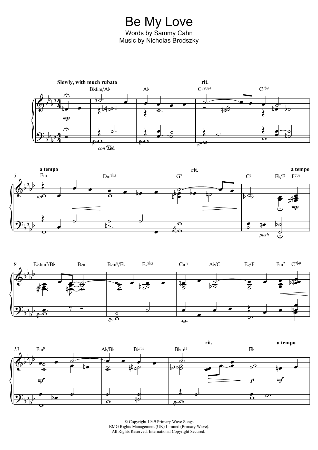 Be My Love Sheet Music