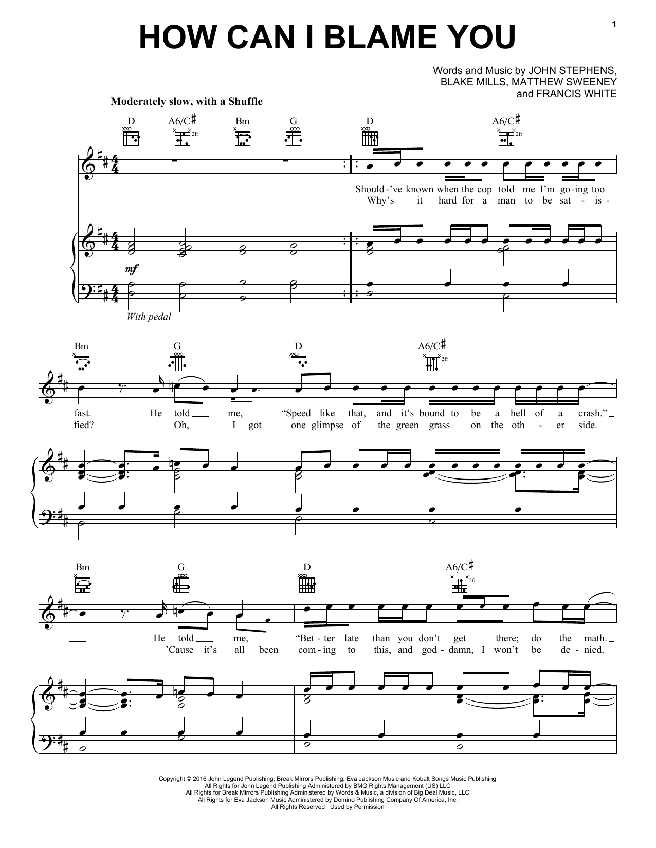 How Can I Blame You (Piano, Vocal & Guitar (Right-Hand Melody))