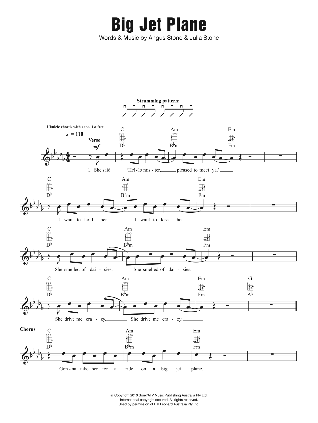Big Jet Plane Sheet Music