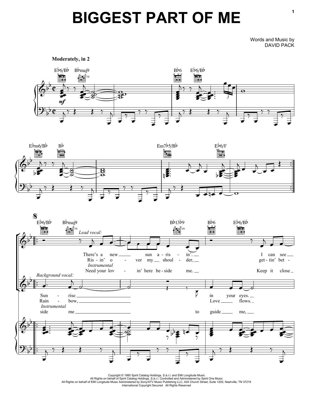 Biggest Part Of Me (Piano, Vocal & Guitar (Right-Hand Melody))