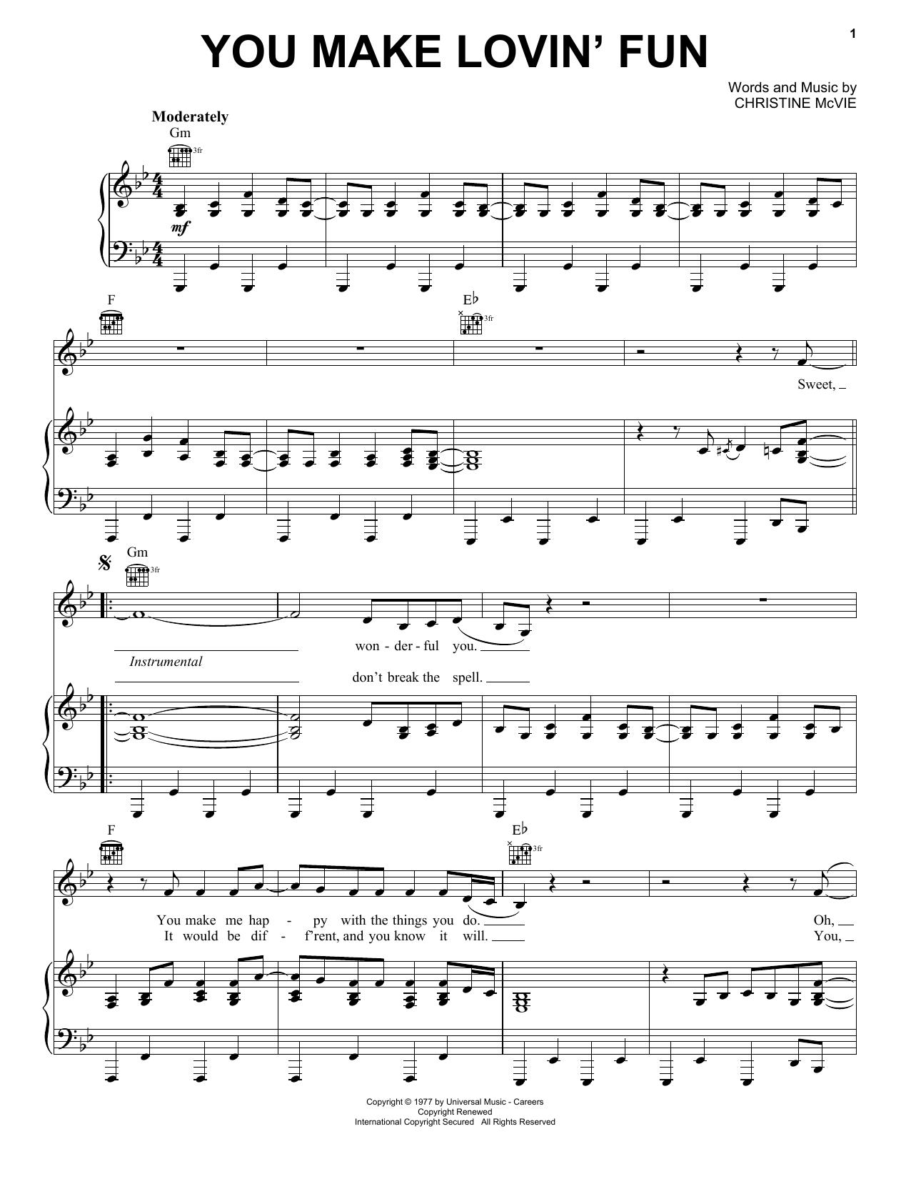 You Make Lovin' Fun (Piano, Vocal & Guitar (Right-Hand Melody))