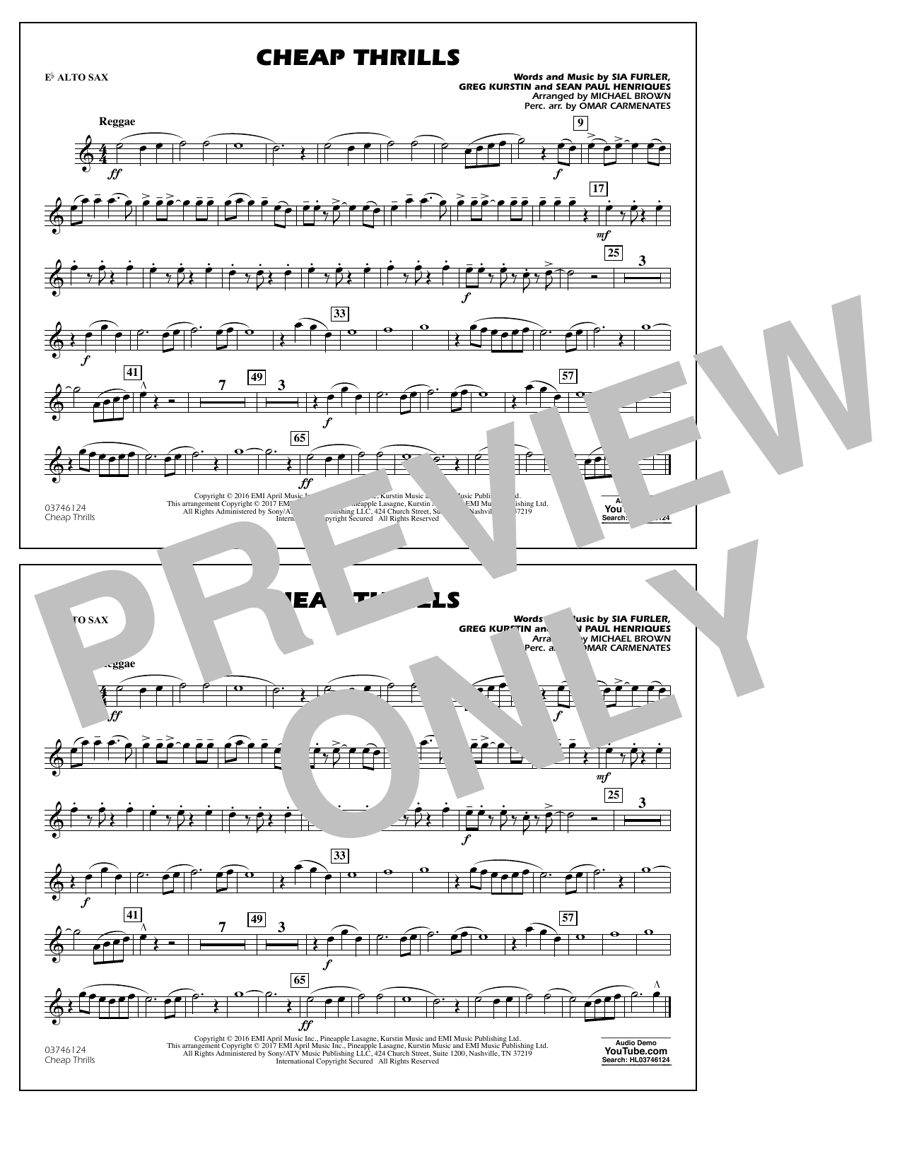 Cheap Thrills - Eb Alto Sax Partition Digitale