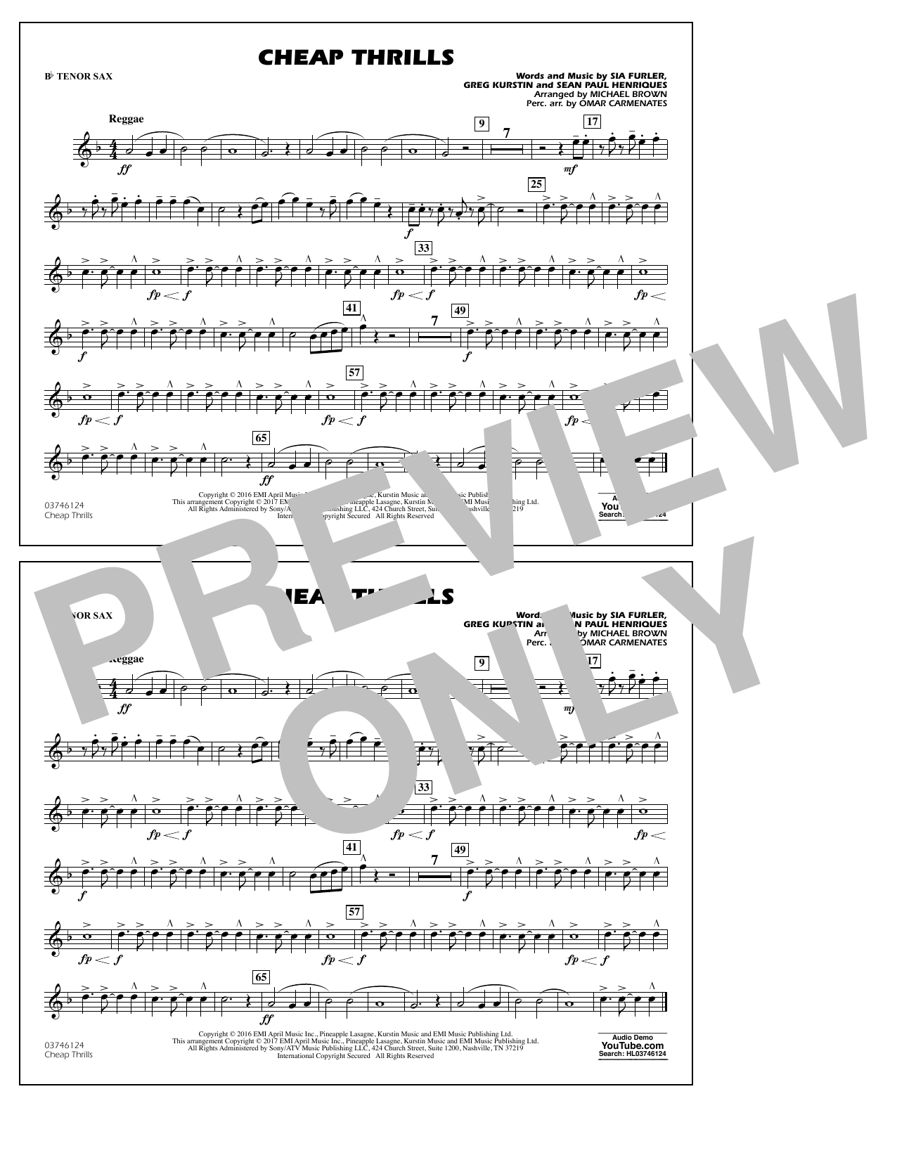 Cheap Thrills - Bb Tenor Sax Partituras Digitales