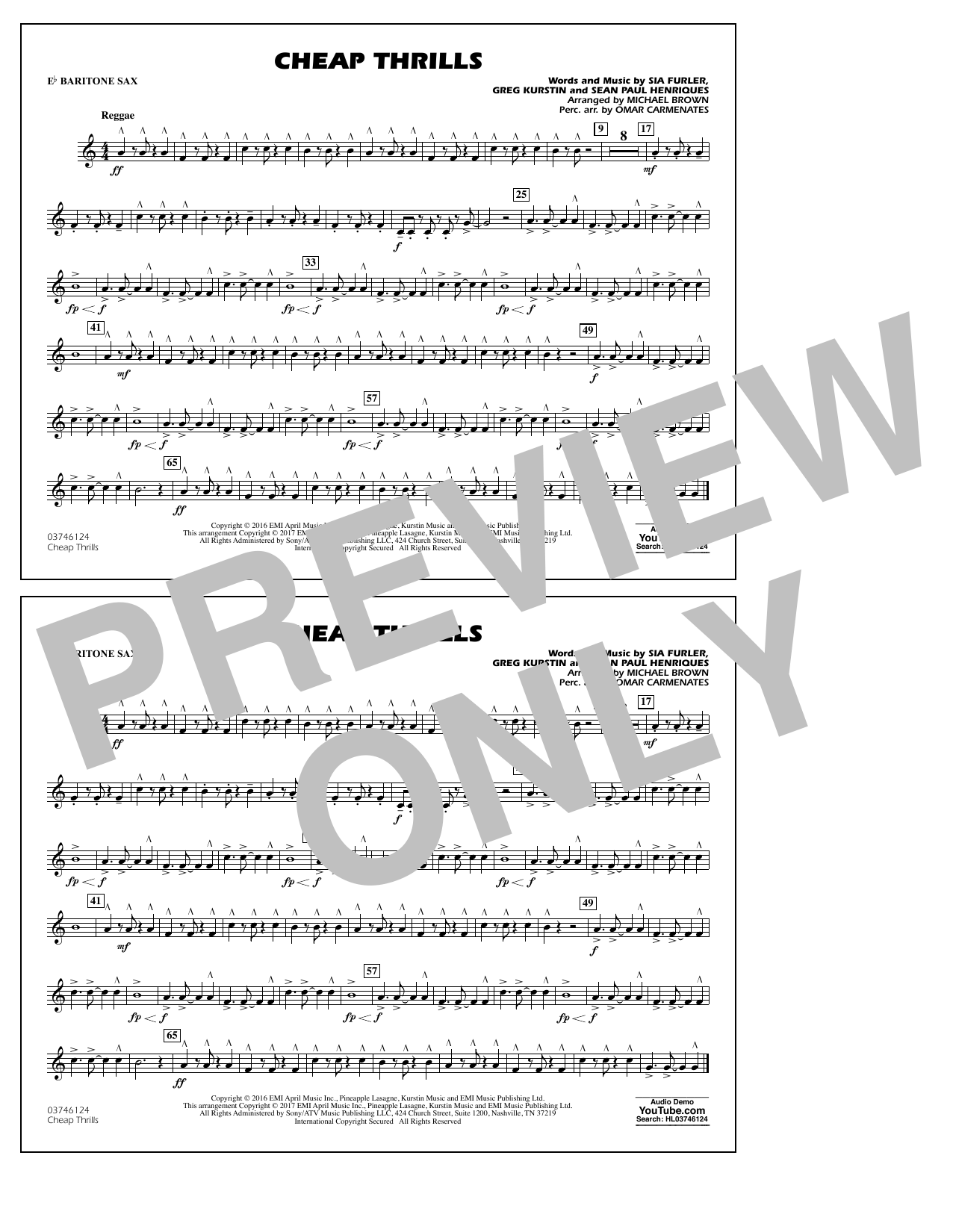 Cheap Thrills - Eb Baritone Sax Sheet Music